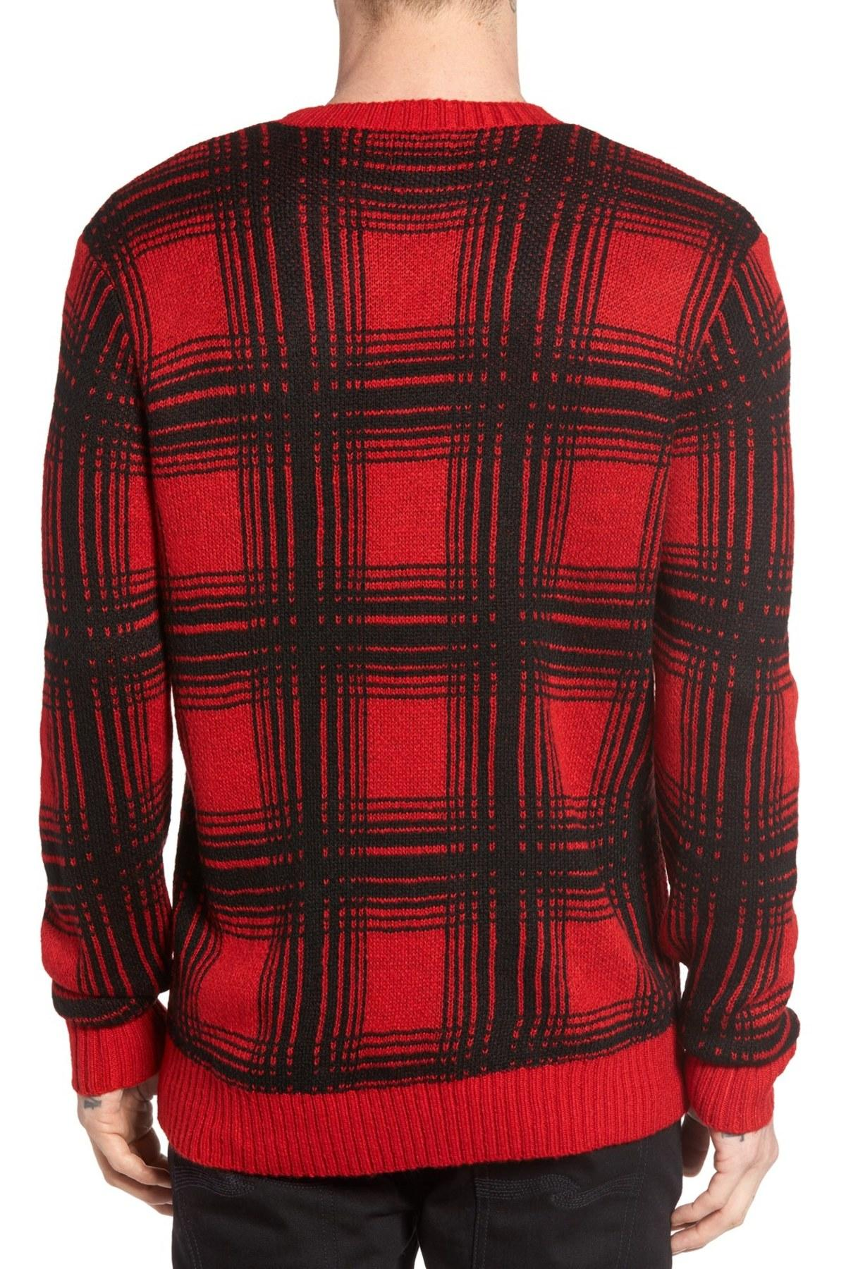Lyst - Obey Backside Plaid Sweater in Red for Men