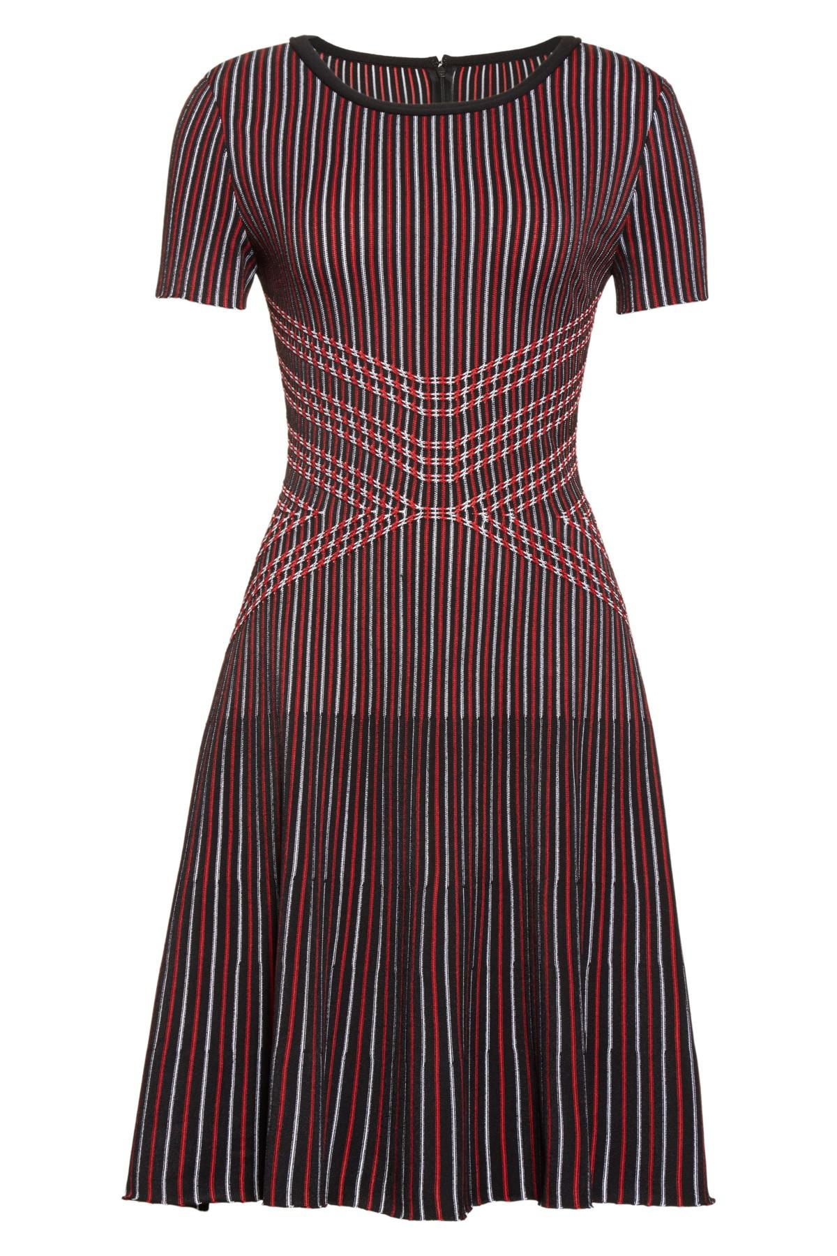 St John Synthetic Atlantis Knit Fit Amp Flare Dress