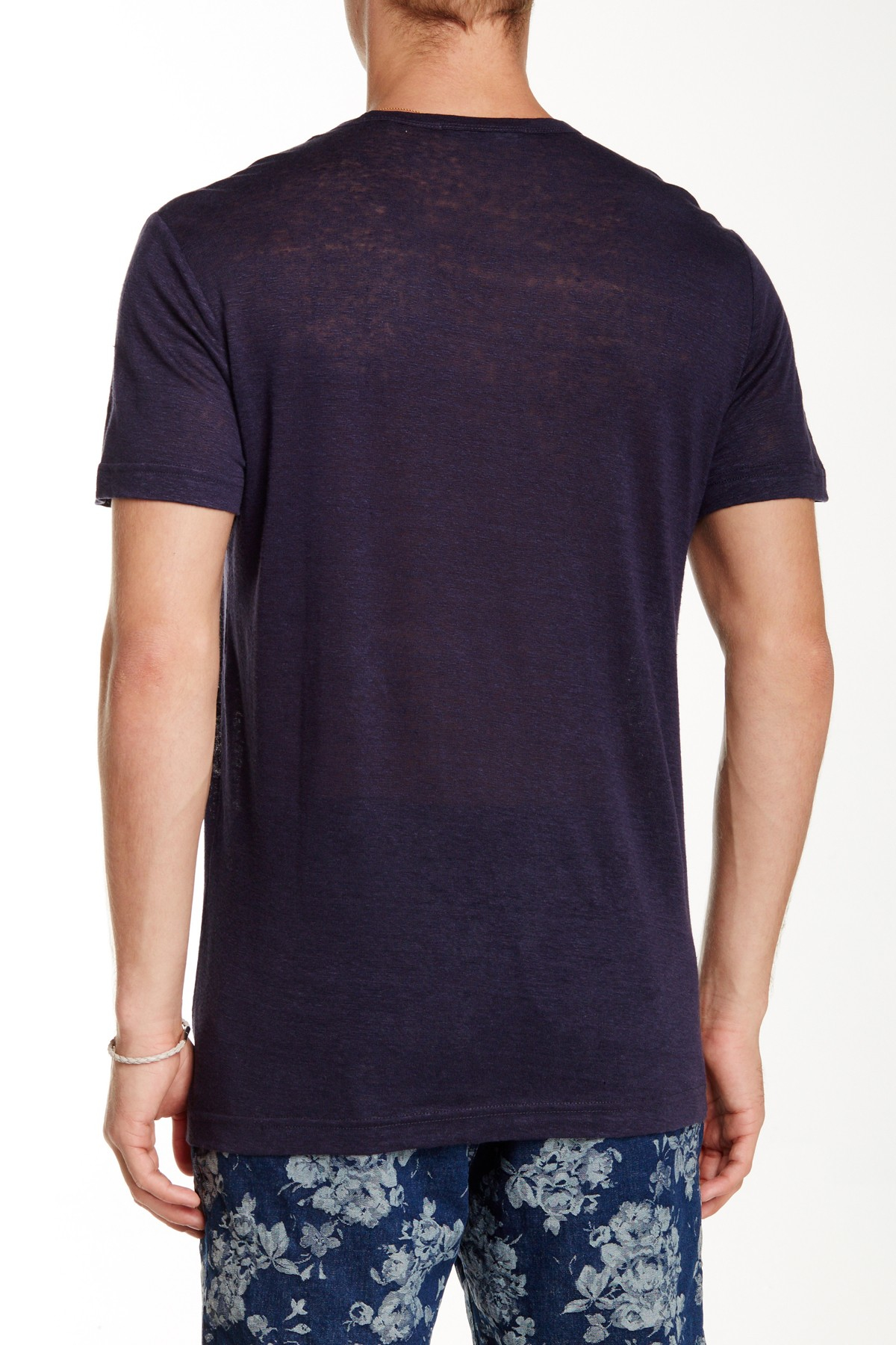 Slate And Stone Clothing : Lyst slate stone linen crew neck tee in blue for men