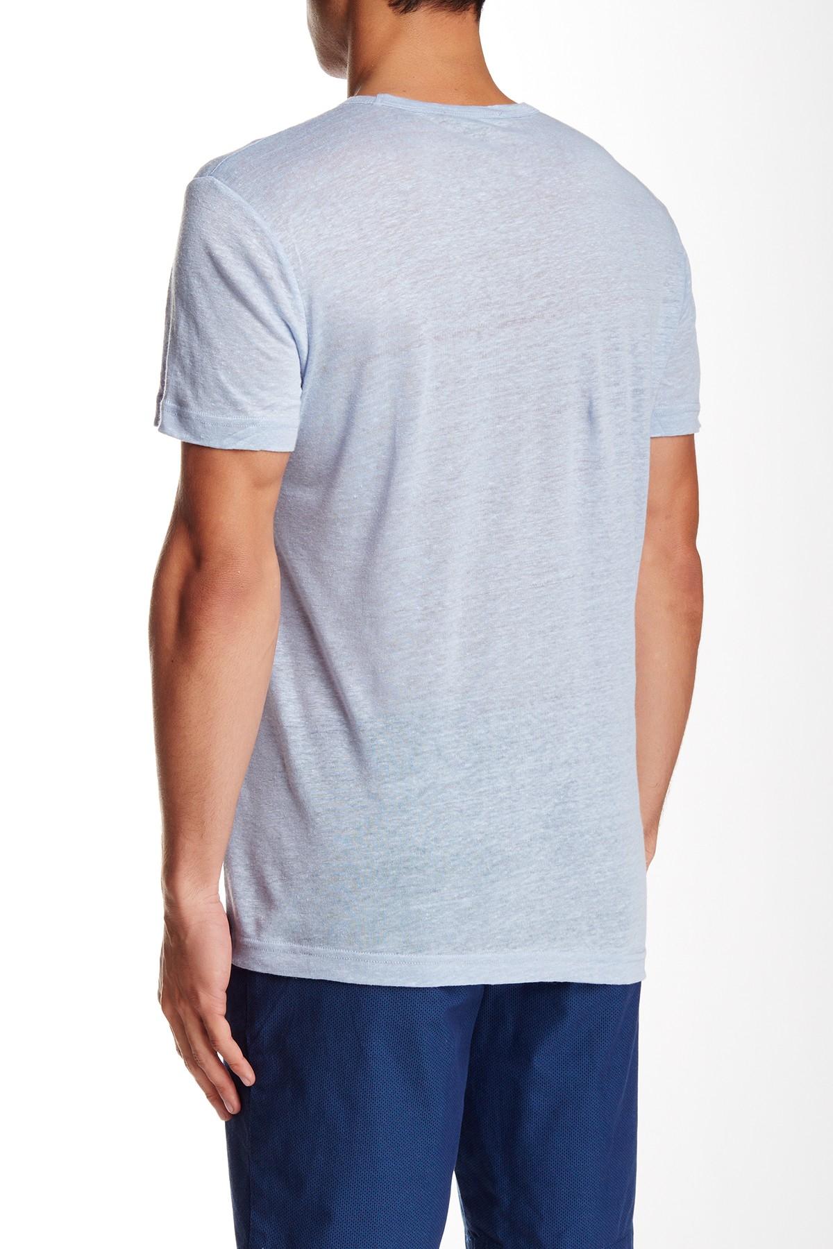 Slate And Stone Clothing : Slate stone short sleeve v neck linen tee in blue for