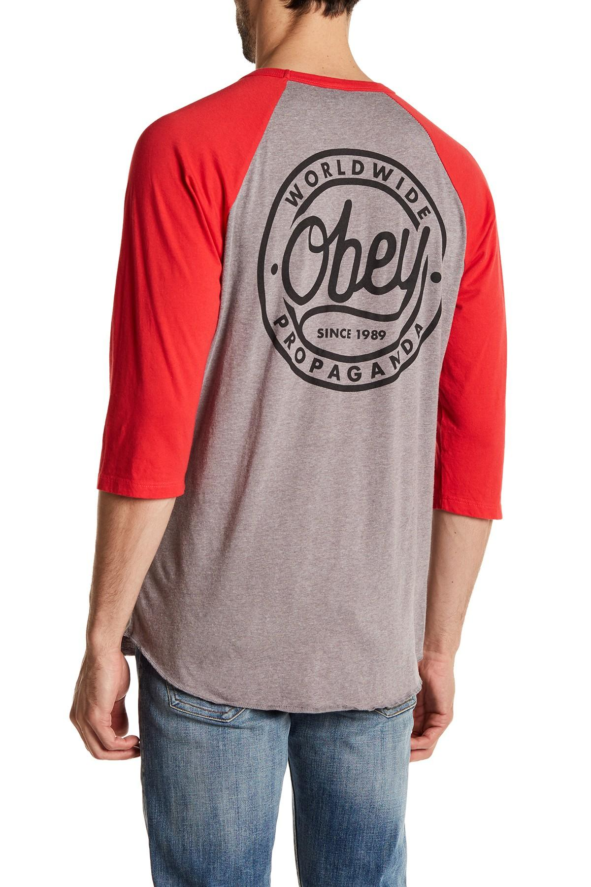 Lyst - Obey Since 1989 Baseball Tee in Red for Men