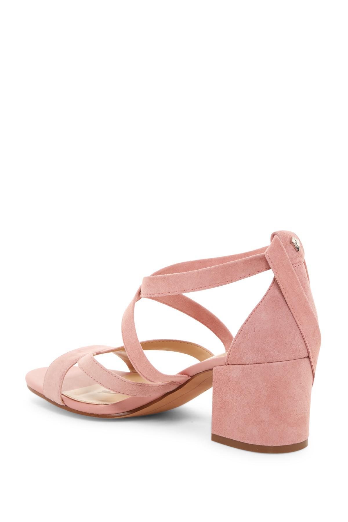 39f520933083 Lyst - Sam Edelman Sheri Wrap-ankle Block Heel Sandal in Pink