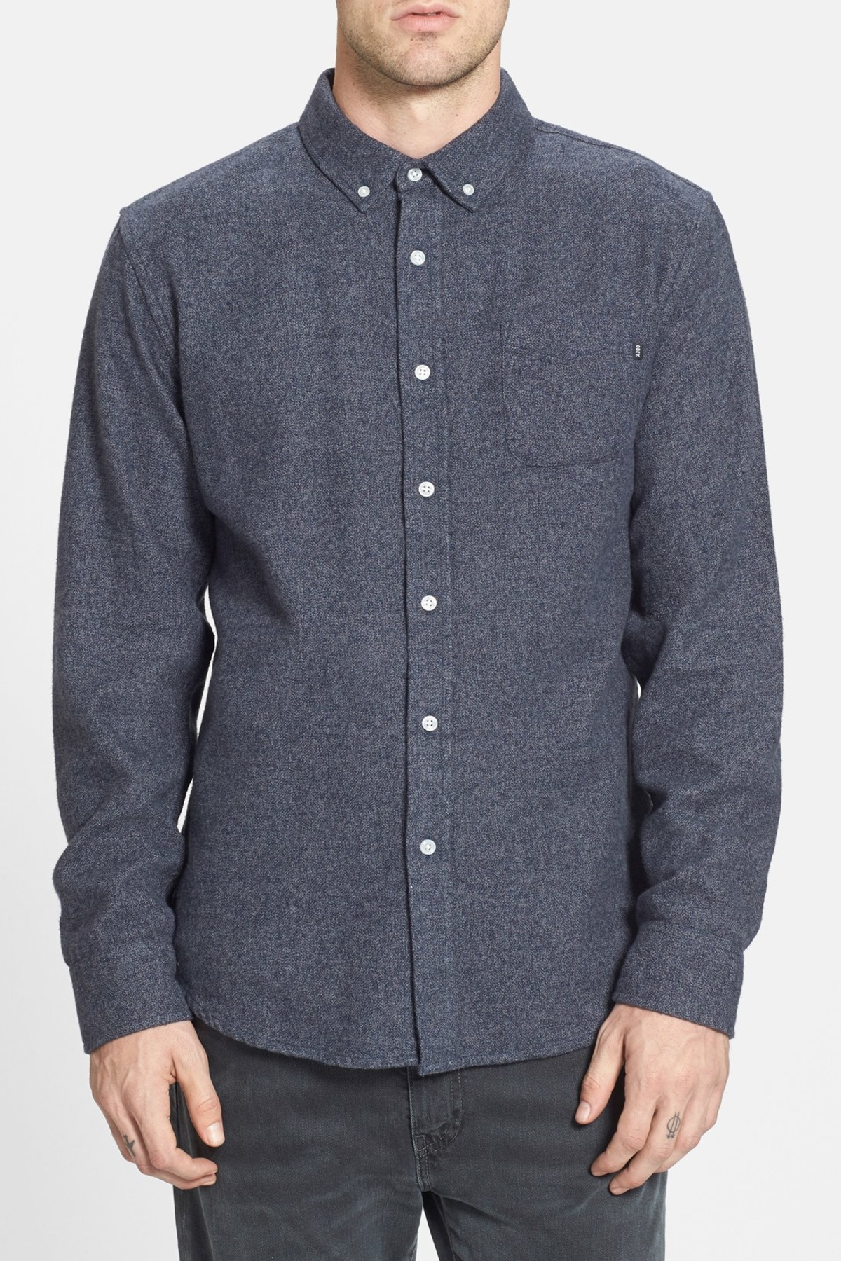Obey 39 eligh 39 slim fit flannel shirt in blue for men navy for Mens slim fit flannel shirt