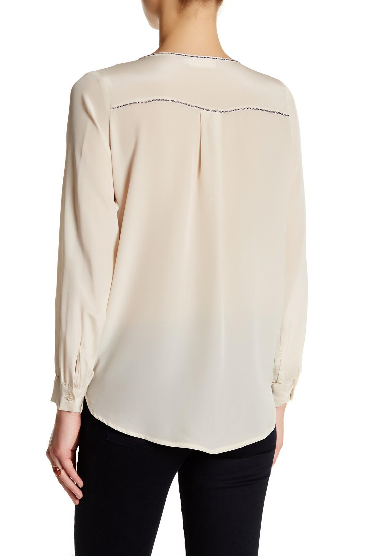 Johnny was pintucked silk blouse in natural lyst for Johnny was silk shirt