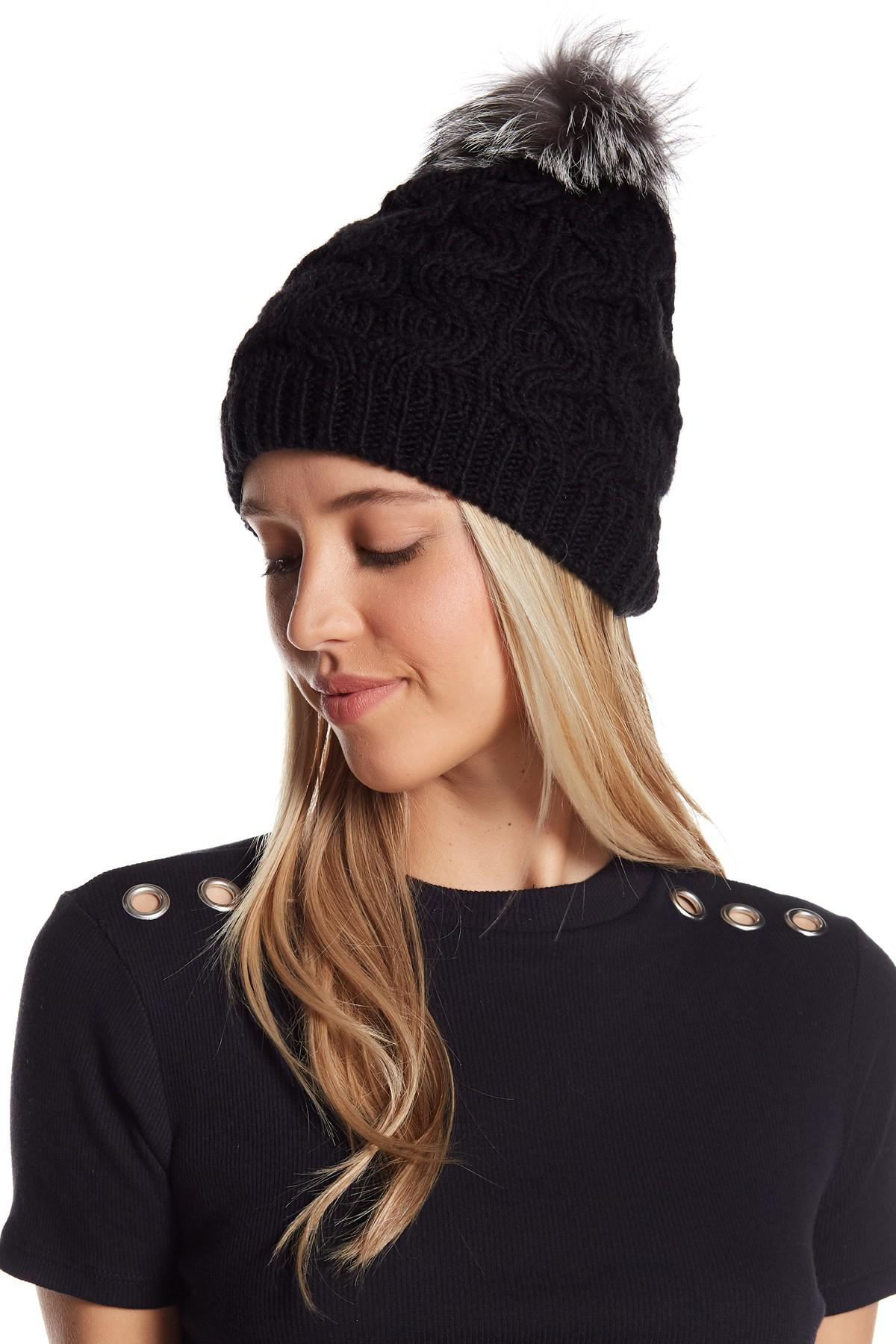 be9cd7d09ab4f2 Portolano Genuine Dyed Fox Fur Pompom Cable Knit Beanie - Lyst