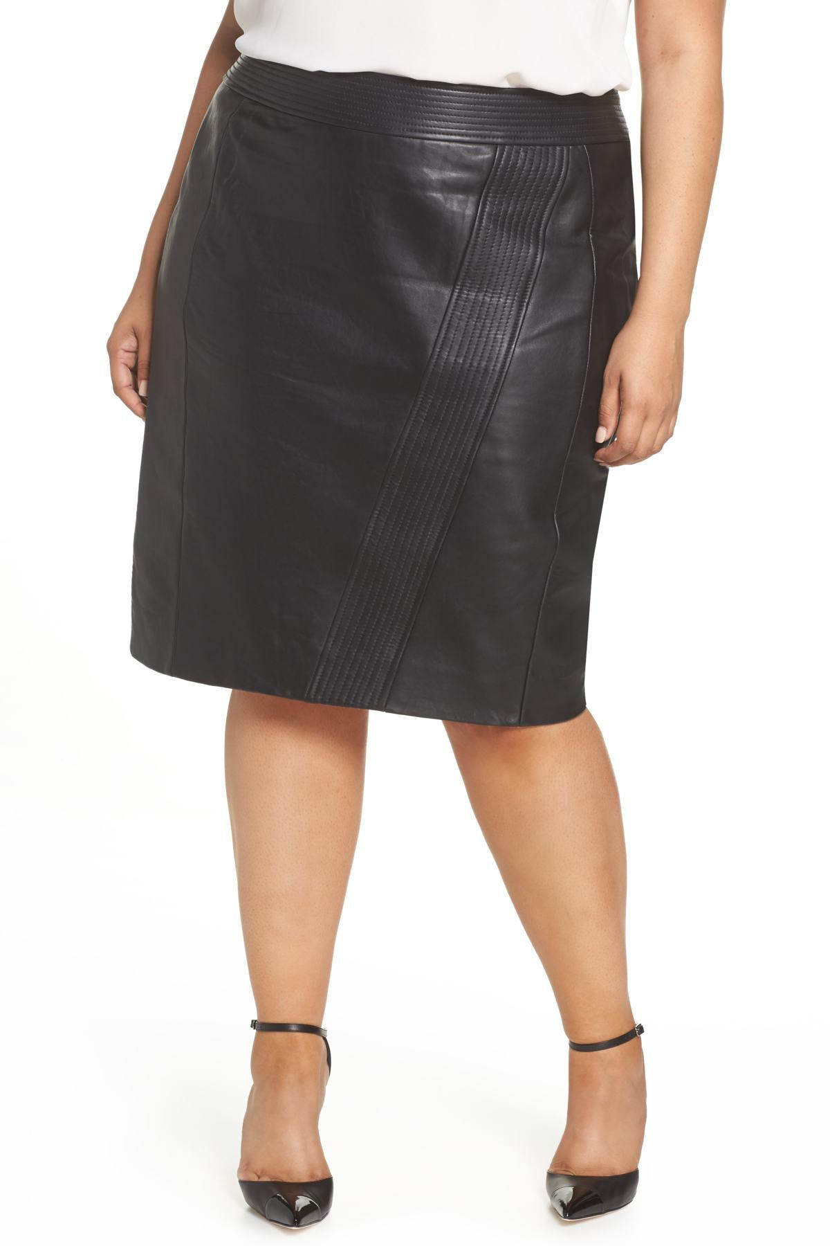 42316a76fbe Lyst - Sejour Leather Pencil Skirt (plus Size) in Black - Save 60%