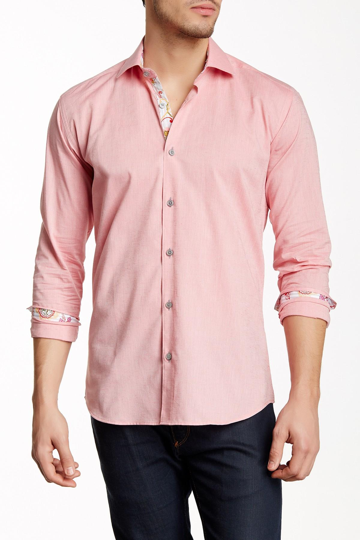 Maceoo luxor contrast trim long sleeve slim fit shirt big for Slim fit tall shirts