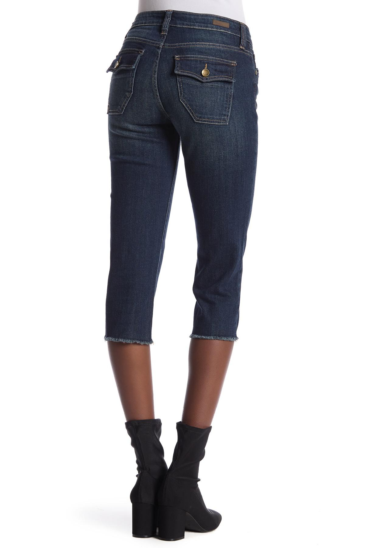 0943735ba7253 Lyst - Kut From The Kloth Natalie Frayed Hem Crop Jeans in Blue
