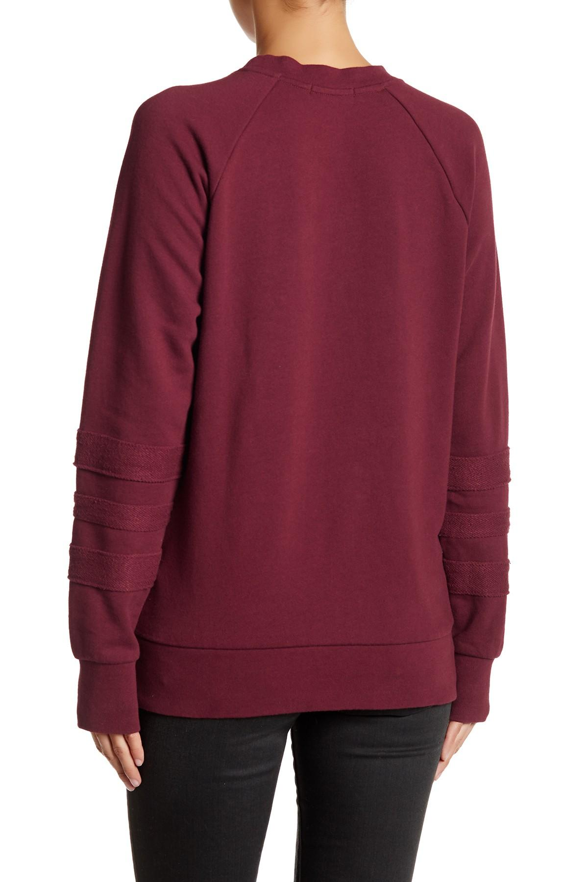 Lyst - Obey Shadow Stripe Crew Sweater in Red
