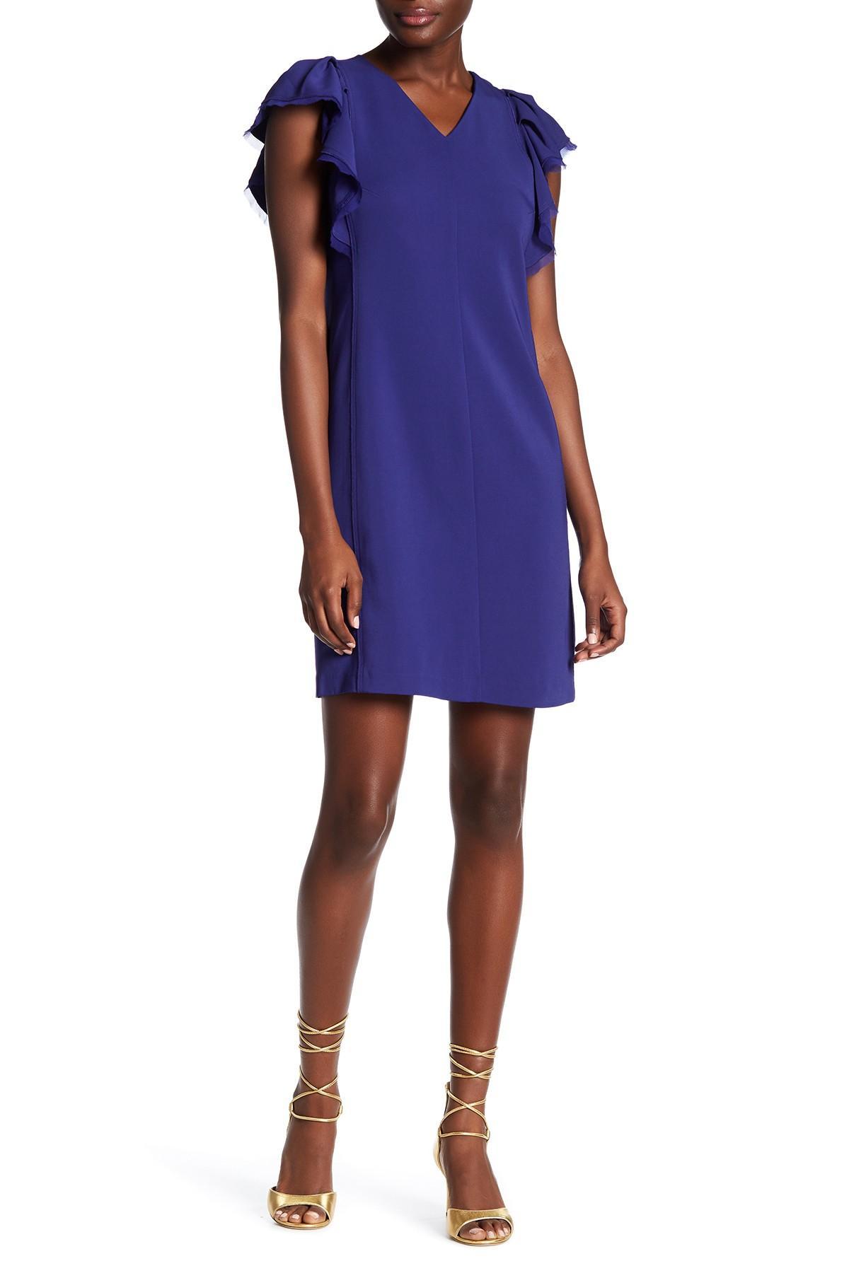 Rebecca taylor Flutter Sleeve Sheath Dress in Blue | Lyst