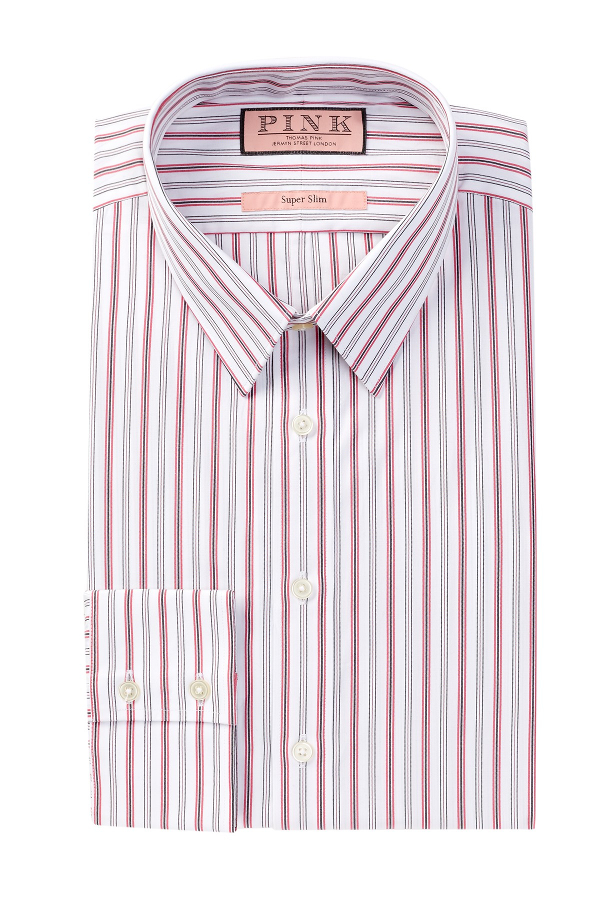 Thomas pink povey long sleeve super slim fit dress shirt for Super slim dress shirts