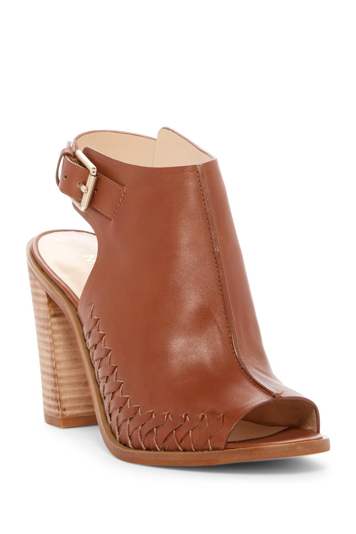 Nine West Palaura Block Heel Sandal In Brown Lyst