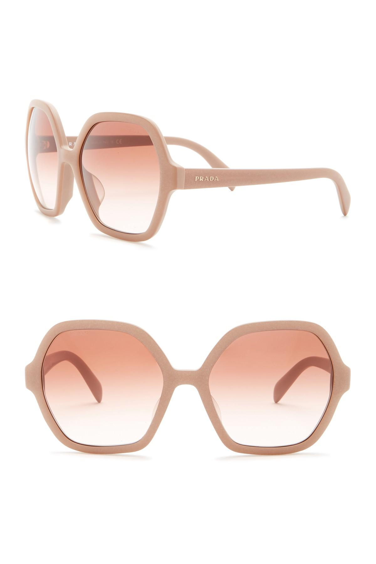 ecda2768b0 Lyst - Prada 56mm Oversized Octagonal Sunglasses in Pink