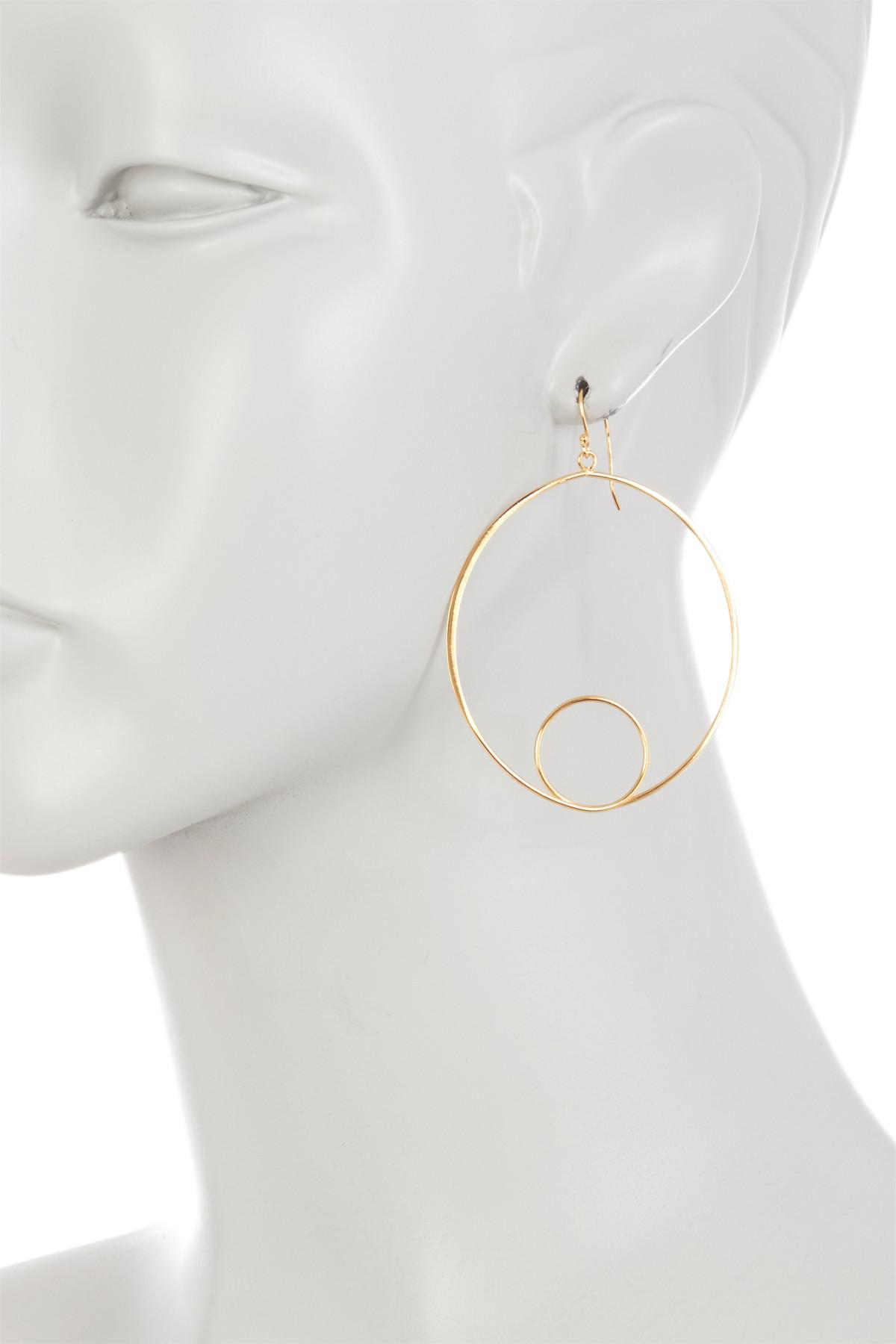 Argento vivo 18k Gold Plated Sterling Silver Oval Inner Drop