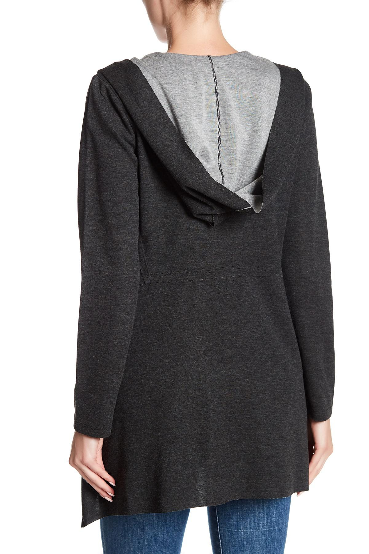 Cable & gauge Open Front Hooded Cardigan   Lyst
