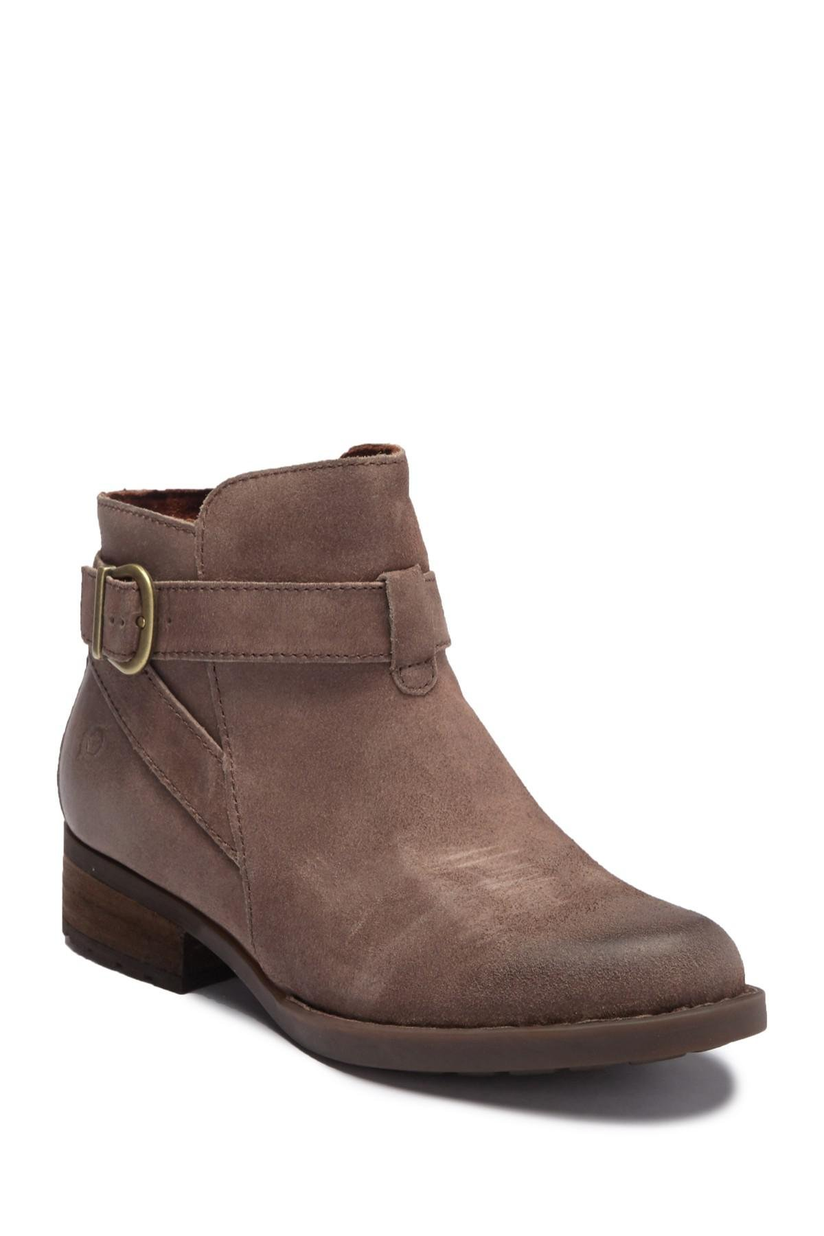 f90becaa618 Lyst - Born Jorgette Leather Buckle Strap Bootie in Brown
