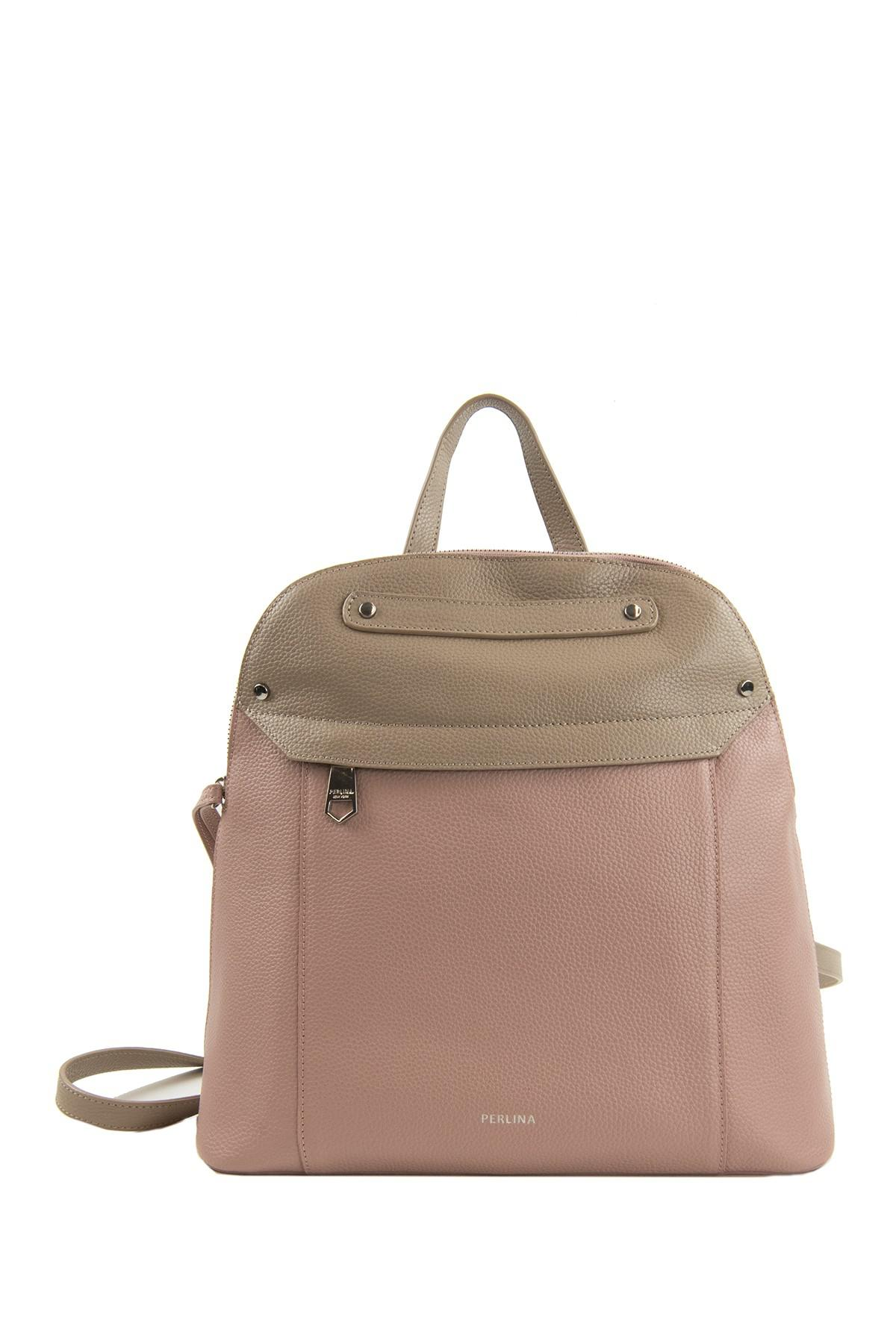 Lyst - Perlina Emma Leather Backpack in Brown 5ea43f6382b66