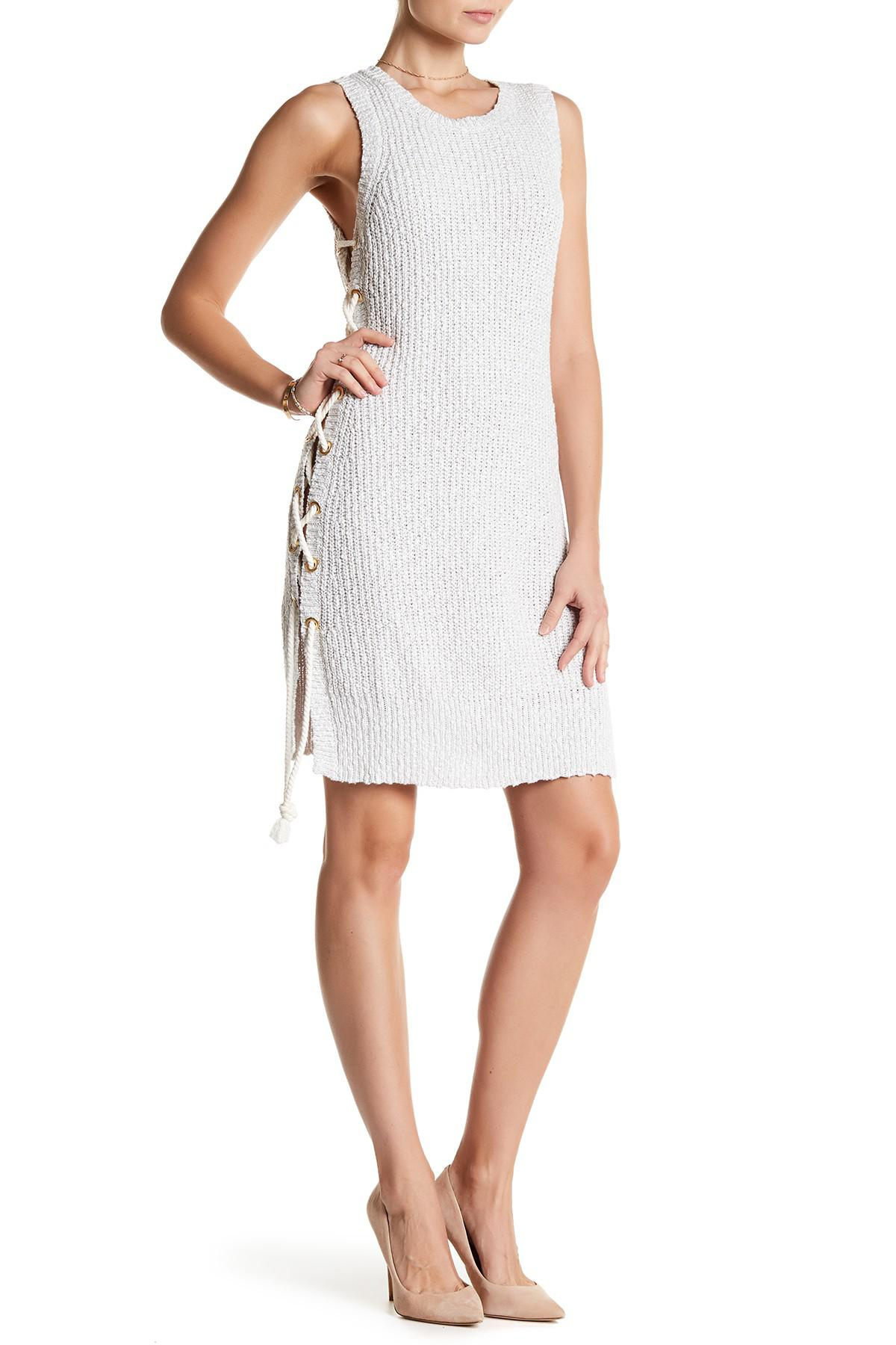 72641ab2f1c Lyst - Lovers + Friends Belle Side Lace-up Sweater Dress in White