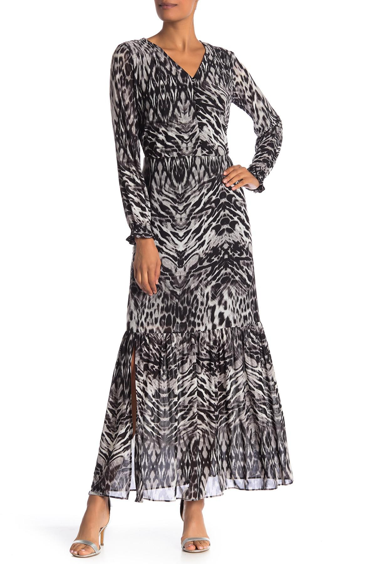 607c8cc3baa786 Lyst - Eci V-neck Animal Print Maxi Dress in Gray