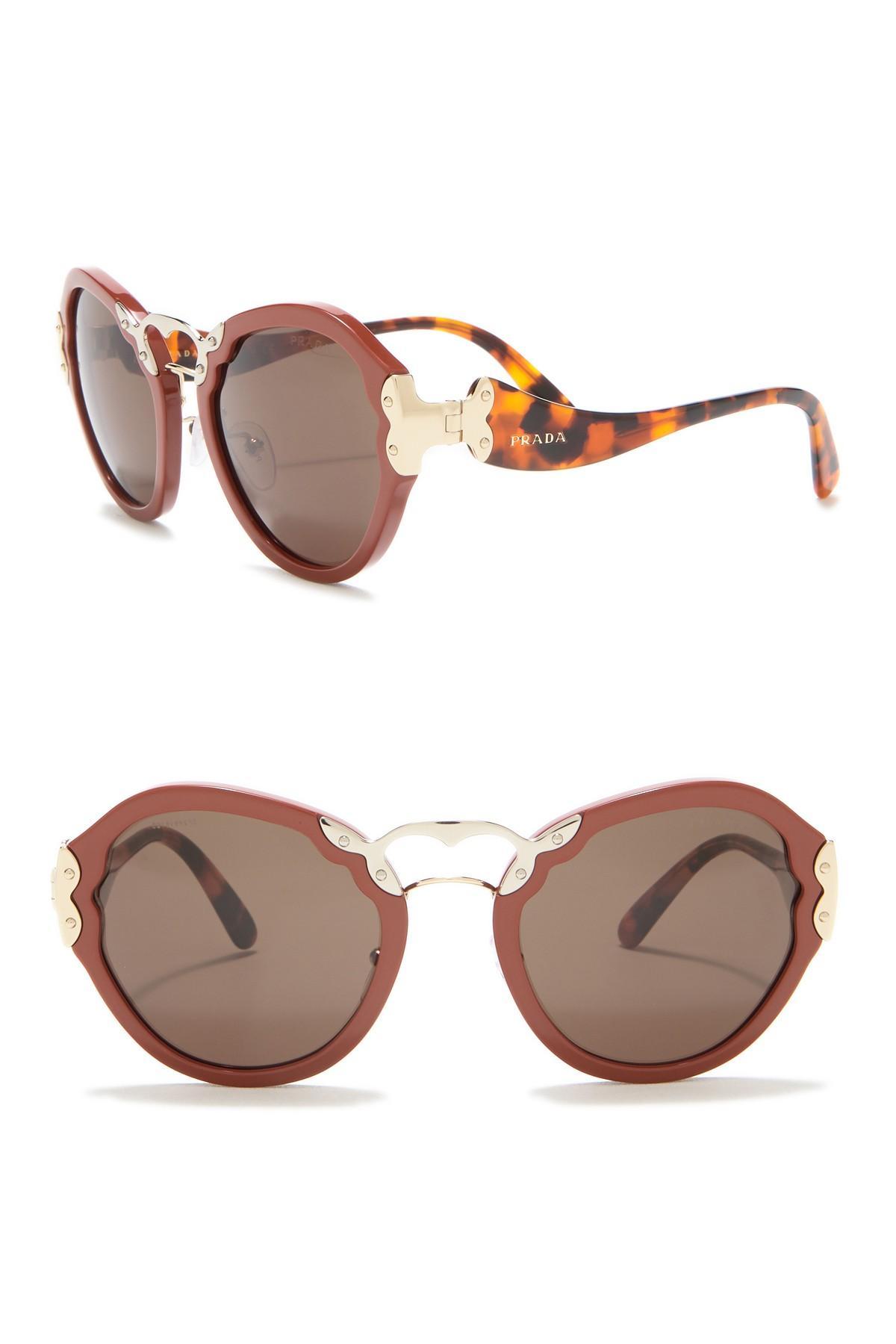 52849a0b76473 Prada Irregular Catwalk 54mm Sunglasses in Orange - Lyst