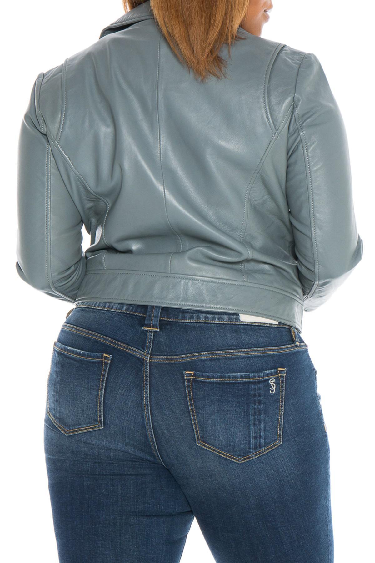 51233870554bd Lyst - Slink Jeans Lambskin Leather Moto Jacket (plus Size) in Gray