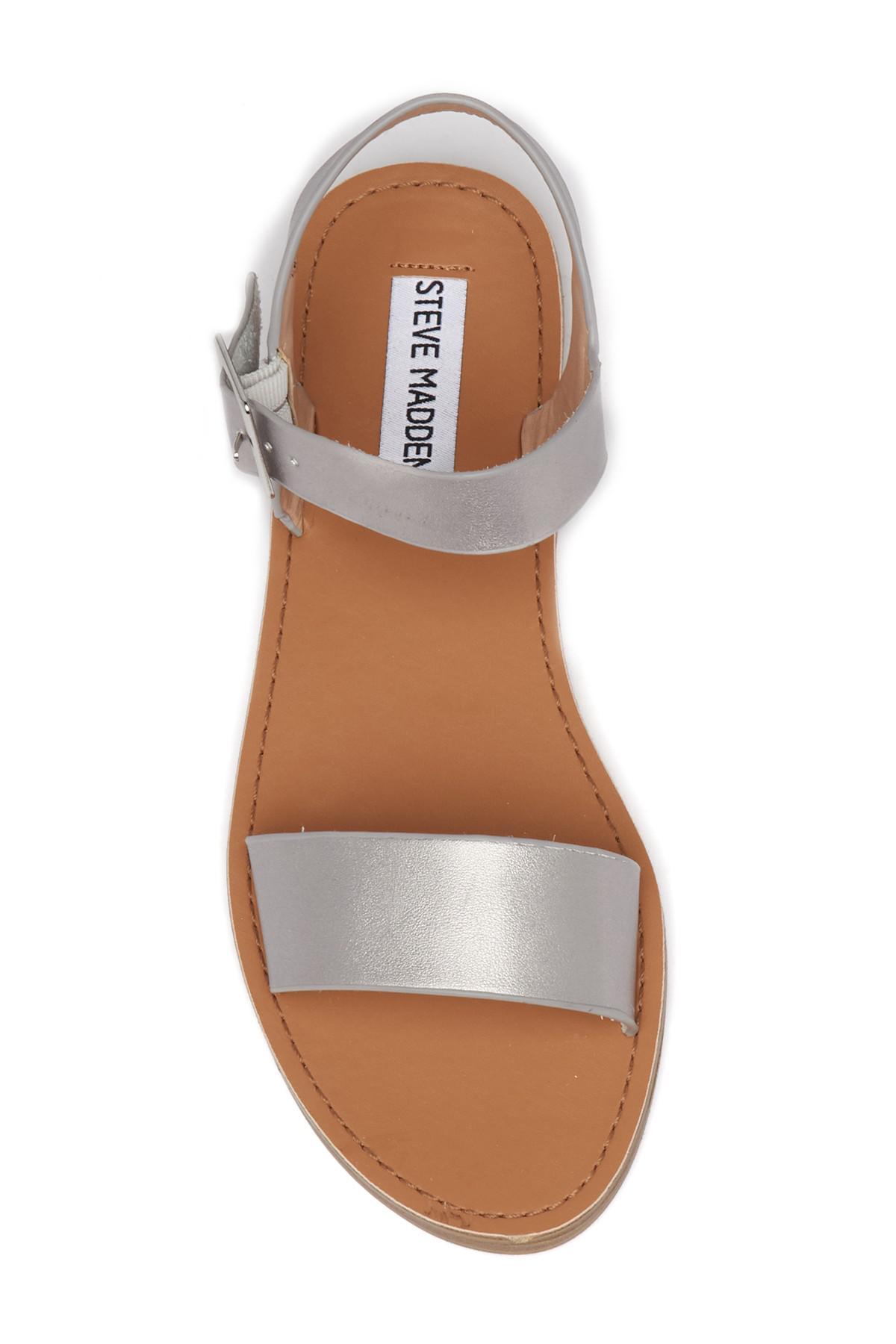 5be44a77fad Steve Madden Zone Ankle Strap Sandal in Metallic - Lyst