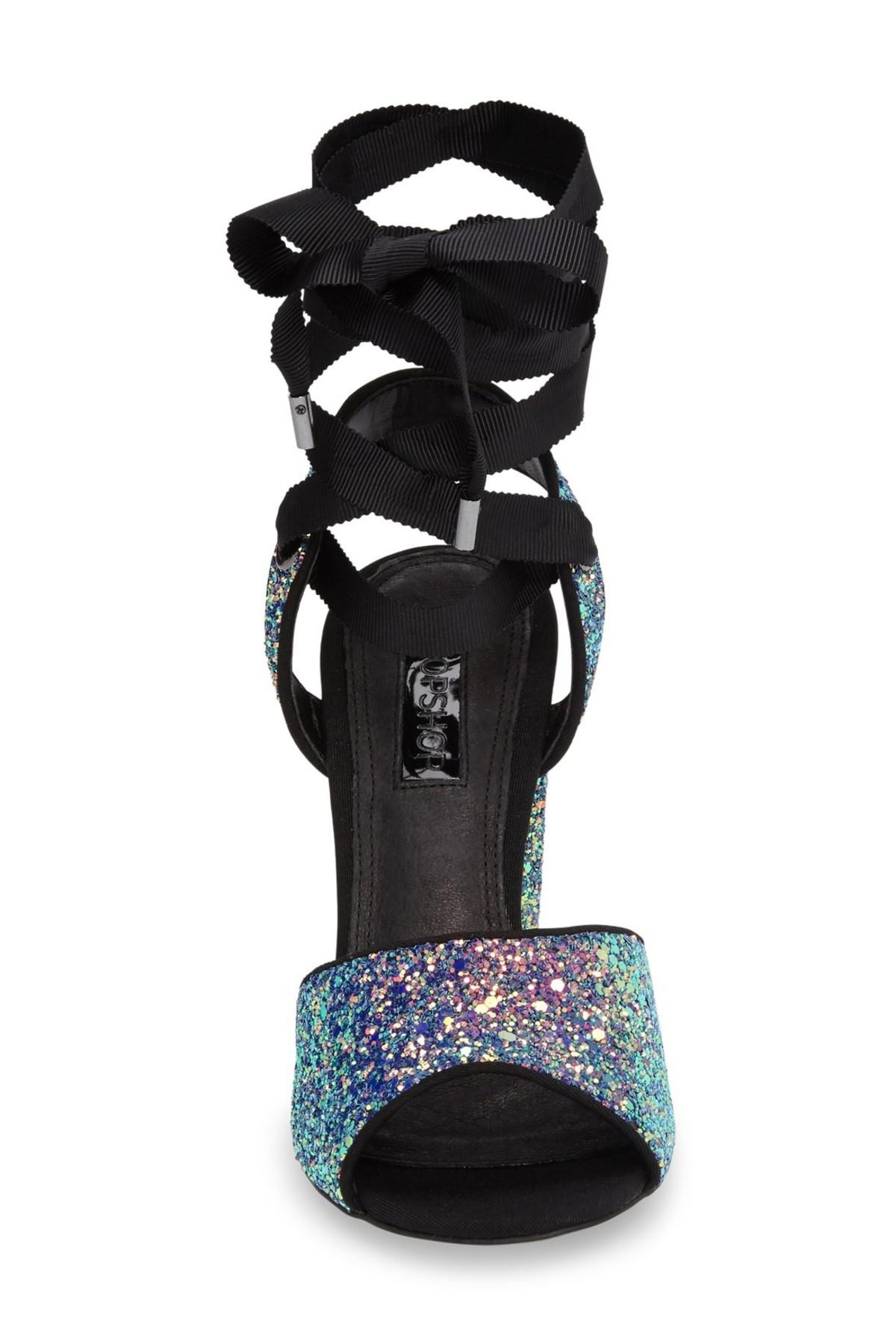 0f5262db333f Lyst - TOPSHOP Royal Glitter Lace-up Sandals in Black