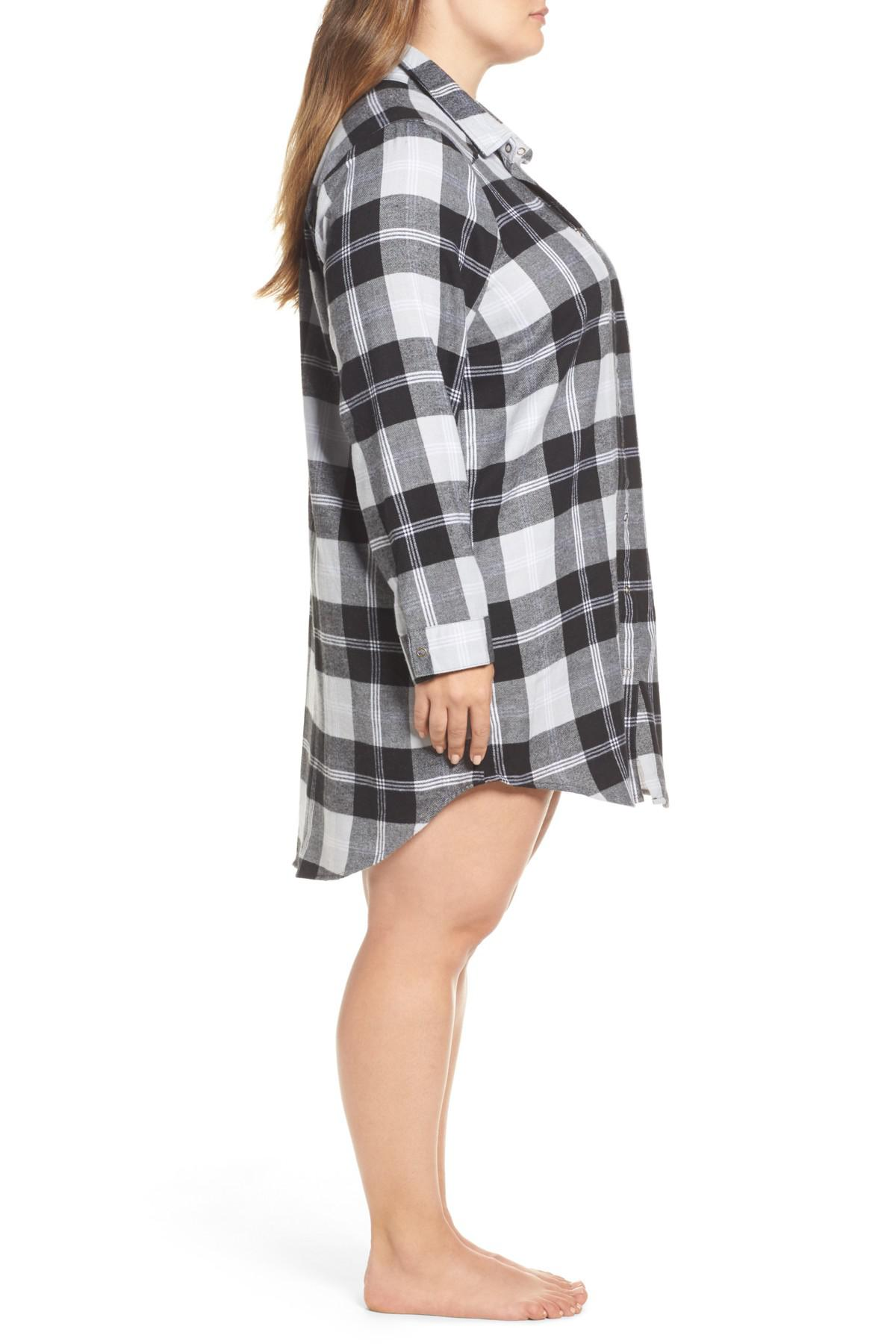 Lyst Make Model Plaid Flannel Nightshirt Plus Size In Gray