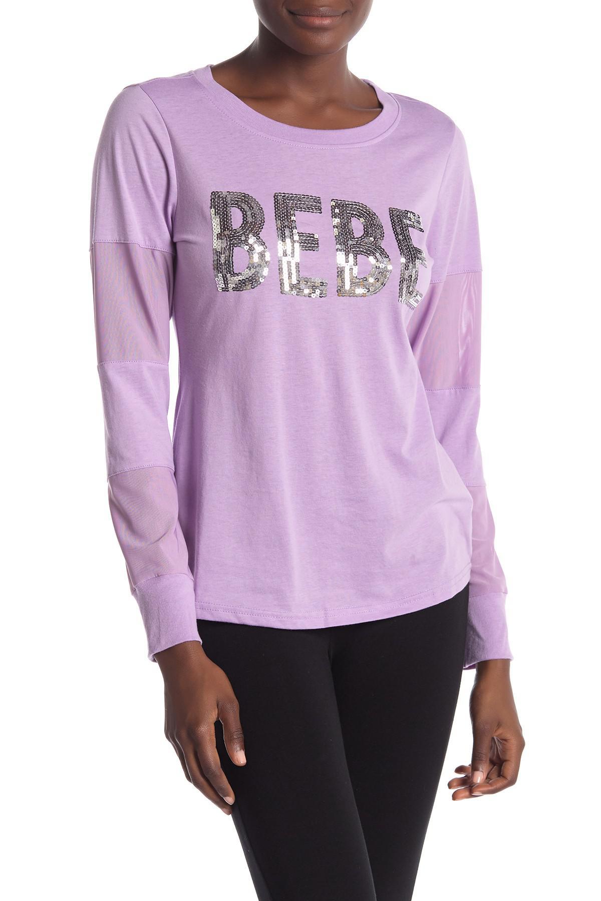 cde1d7b70fe82d Lyst - Bebe Sequin Logo Mesh Panel Pullover in Purple