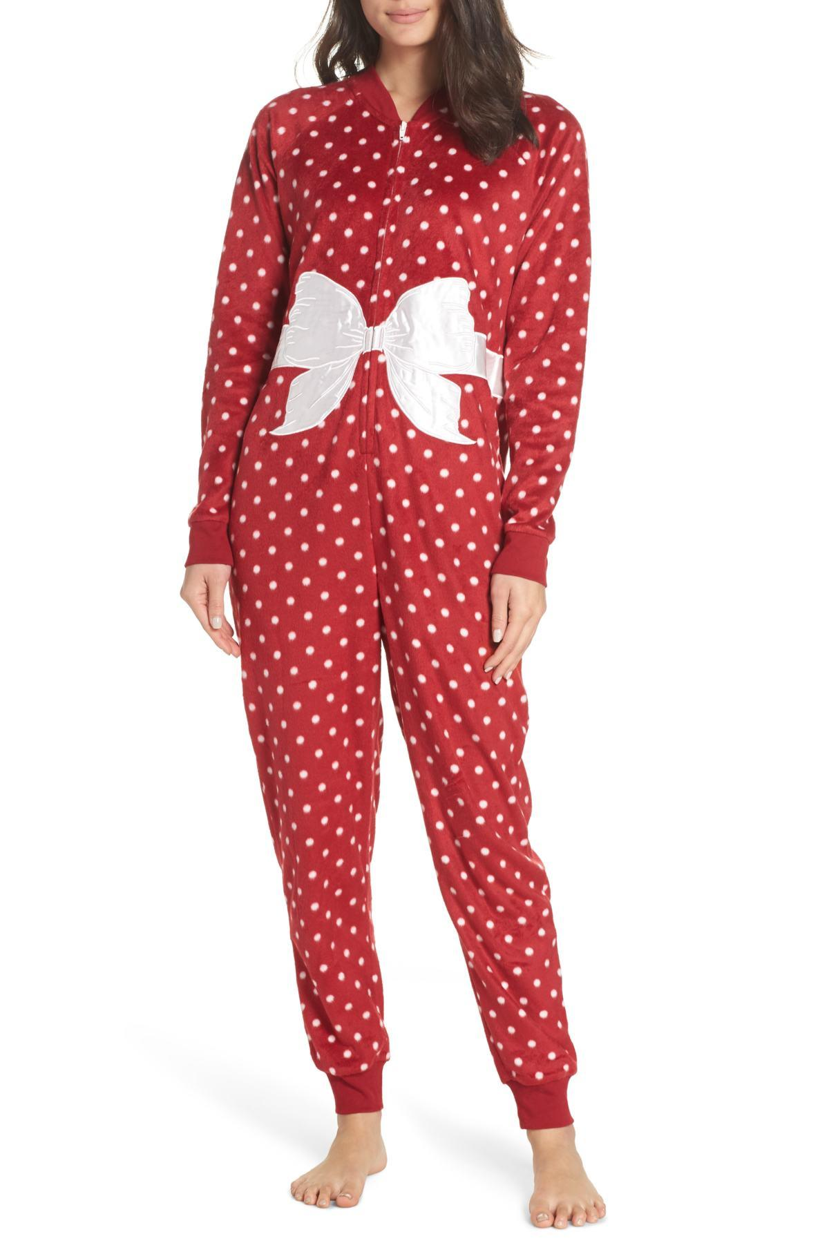a56d1afeb4 Lyst - Cozy Zoe Holiday Fleece Jumpsuit in Red - Save 41%