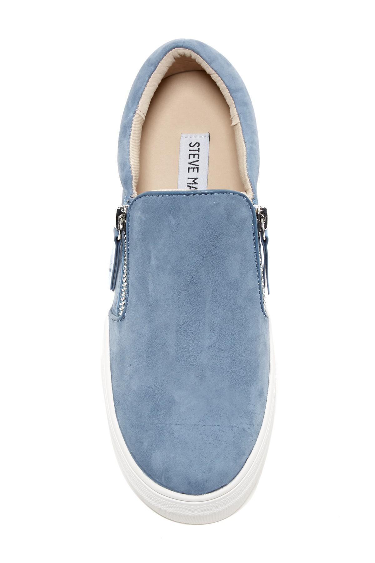 4cb07e6bd3d Lyst - Steve Madden Glaammar Zip Embossed Sneaker in Blue