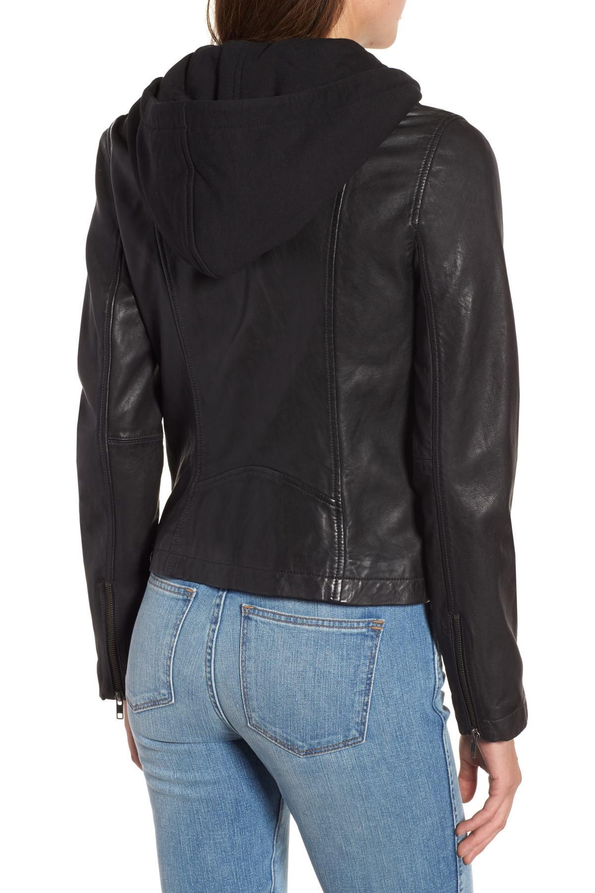 75c5aa89c16b6 Caslon - Black (r) Leather Moto Jacket With Removable Hood (regular    Petite. View fullscreen