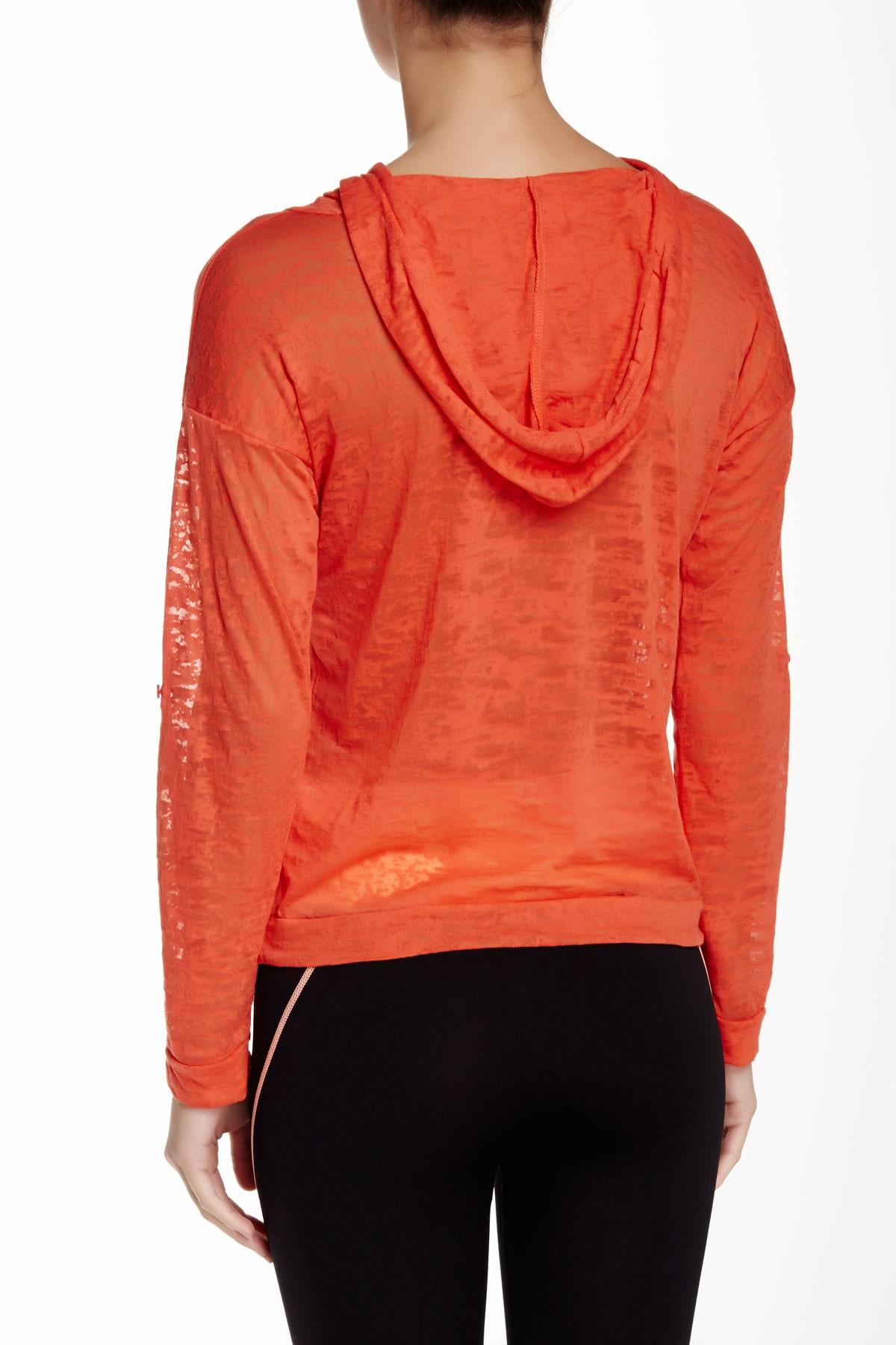 Lyst Electric Yoga Burnout Lightweight Hoodie In Orange