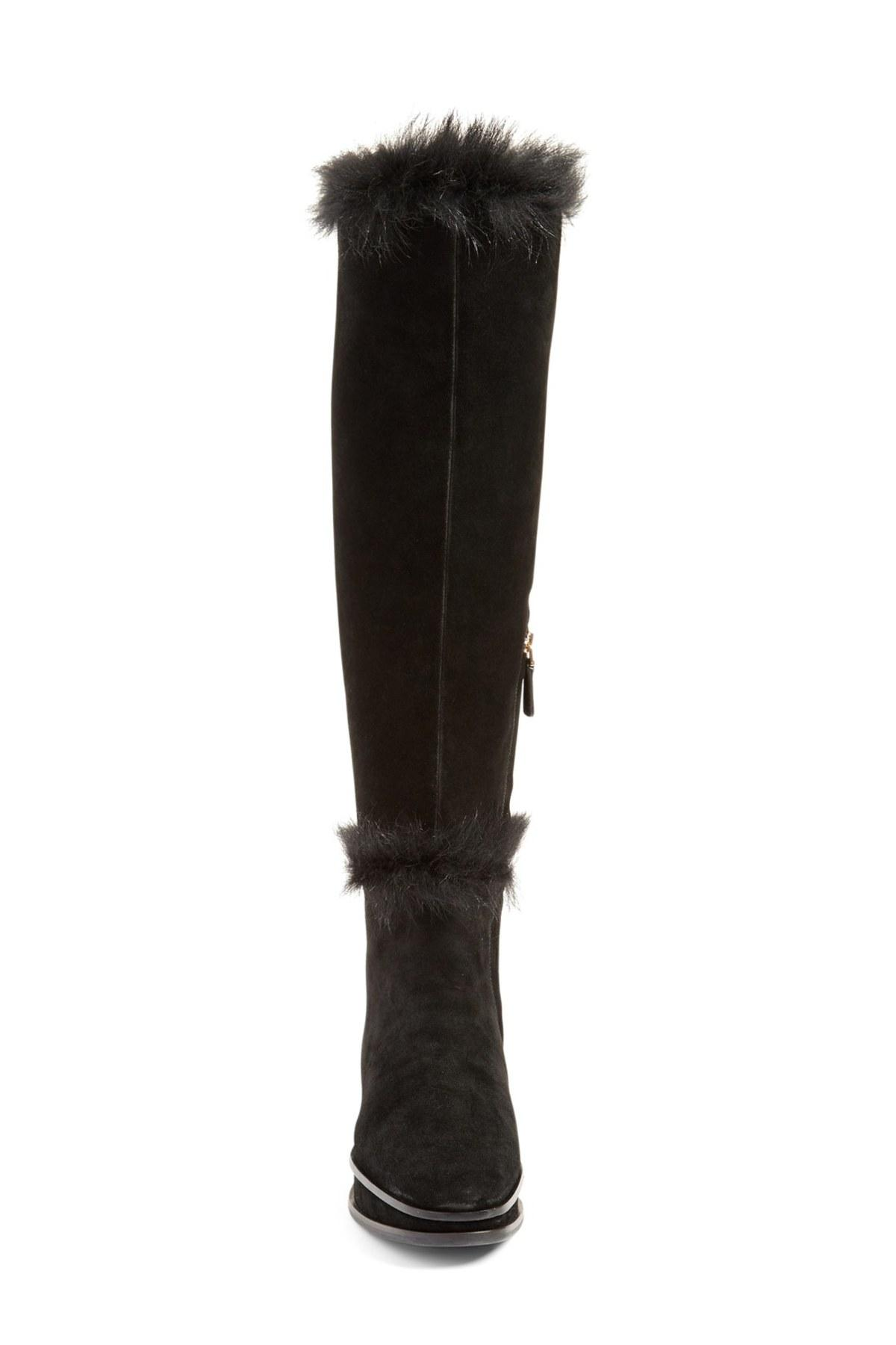 dd7f67f56 Lyst - Tory Burch  marcel  Genuine Shearling Wedge Boot in Black