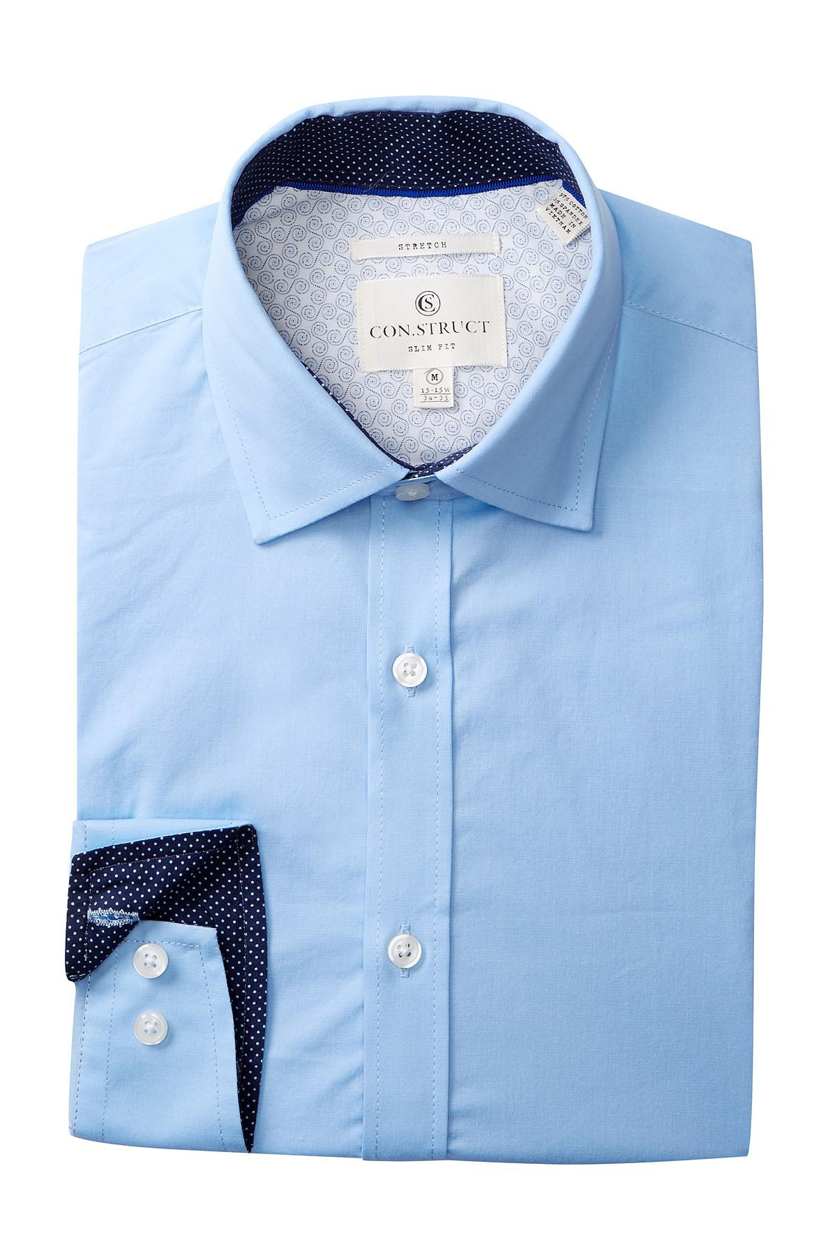 Lyst solid stretch slim fit dress shirt in for How to stretch a dress shirt