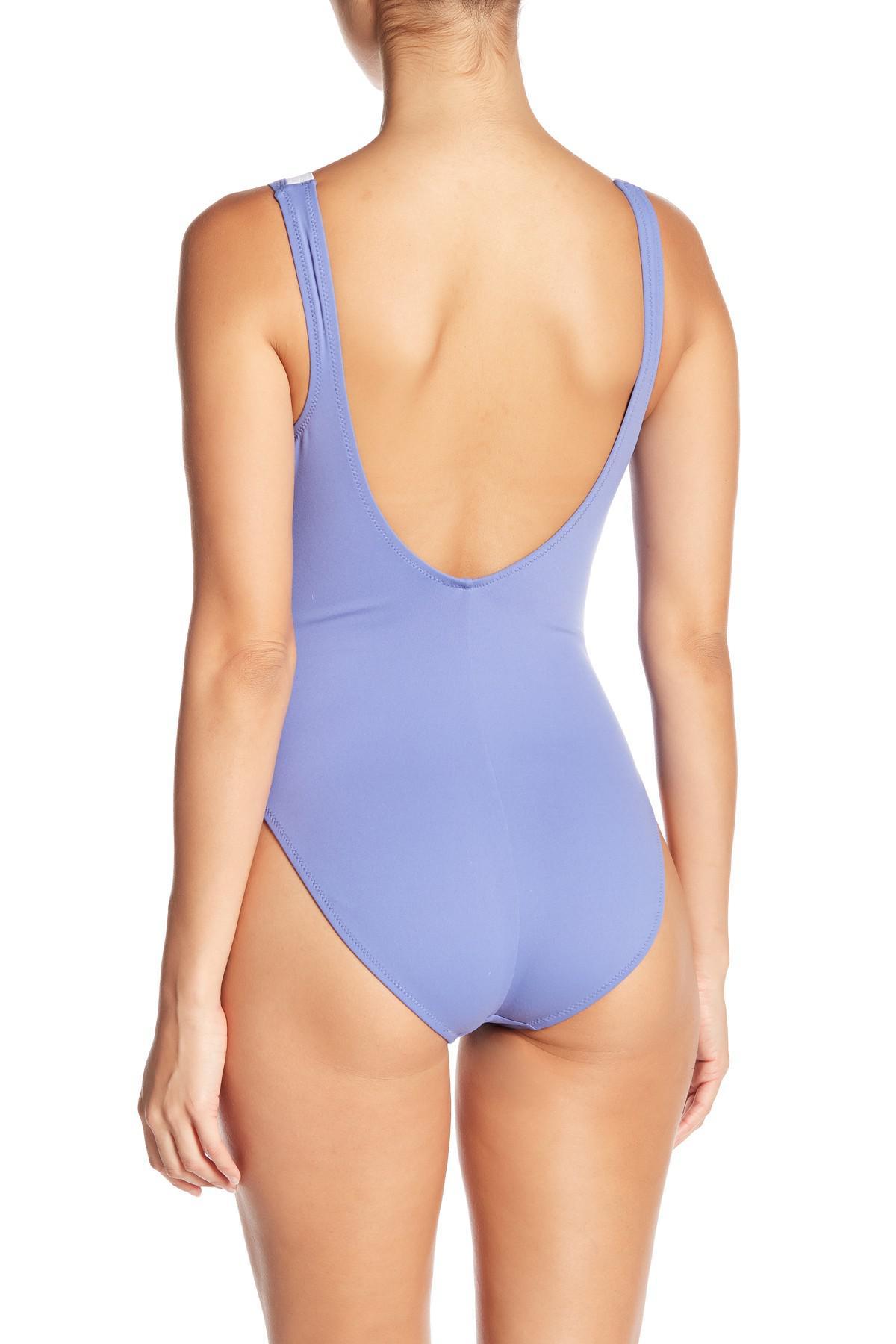 d3e7584cb4f5b Letarte - Blue Front Lace-up One-piece Swimsuit - Lyst. View fullscreen