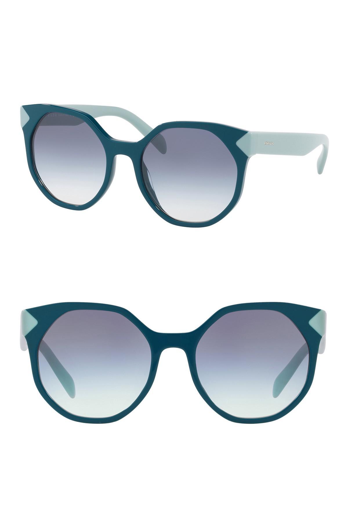 d5988d0e1e09a Prada 55mm Geo Round Cat Eye Sunglasses in Green - Lyst