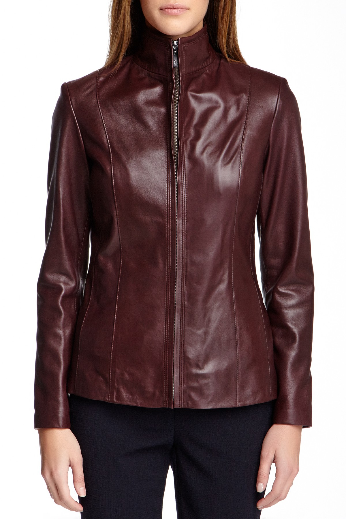 Cole Haan Flap Collar Genuine Leather Jacket In Purple Lyst