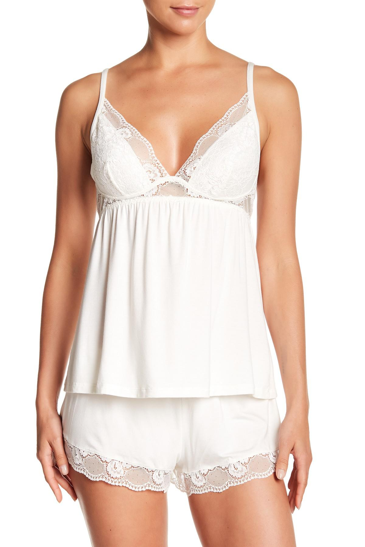 7f24943d3 Lyst - Eberjey Noor Lace Trim Cami in White