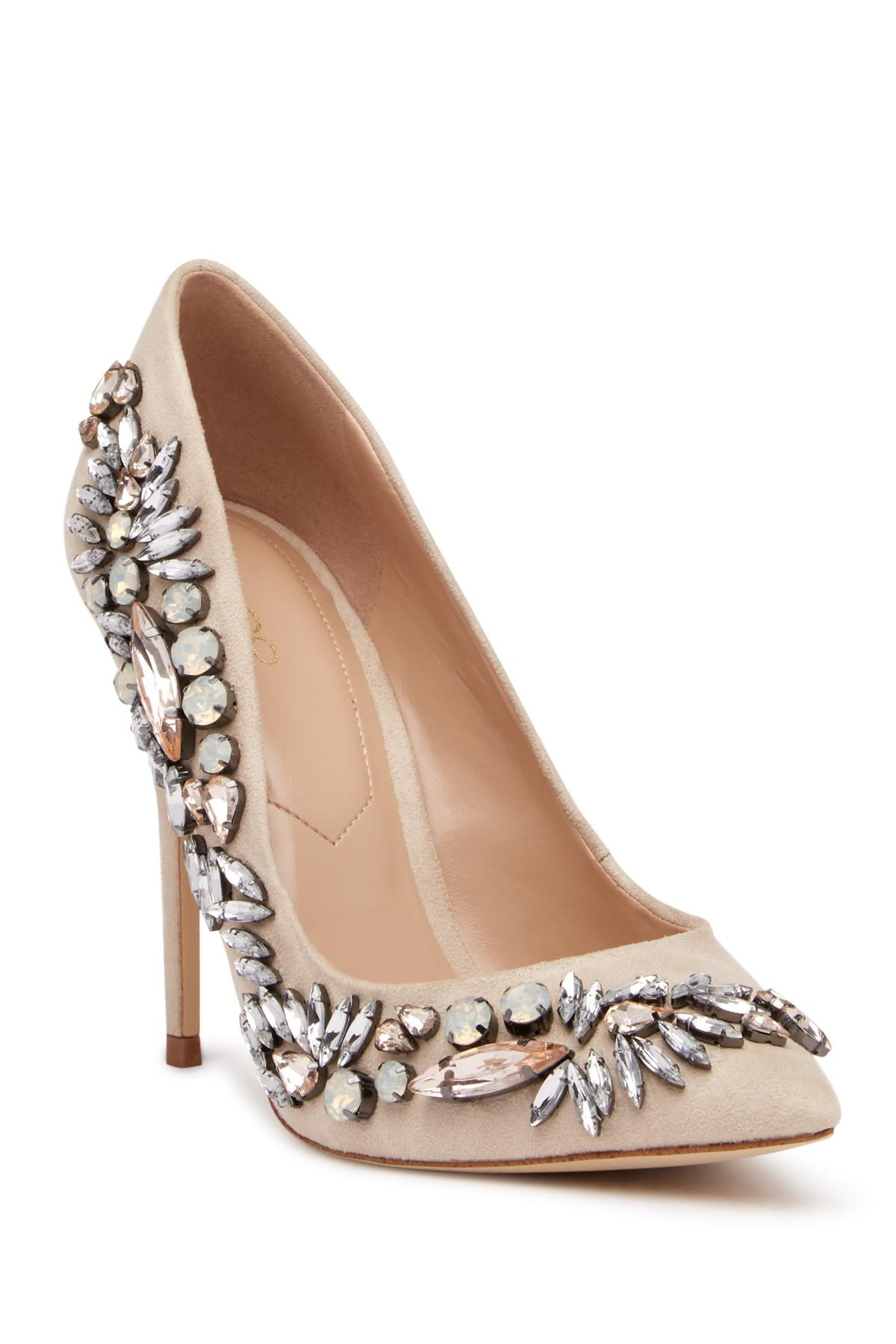 b0bb51687337 ALDO Crystal Embellished Pointed Toe Pump in Natural - Lyst