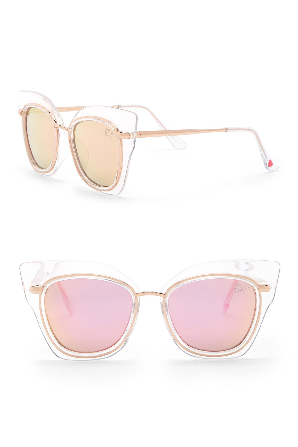 d259335b6c4df Betsey Johnson Outlined Cat Eye Sunglasses in Metallic - Lyst