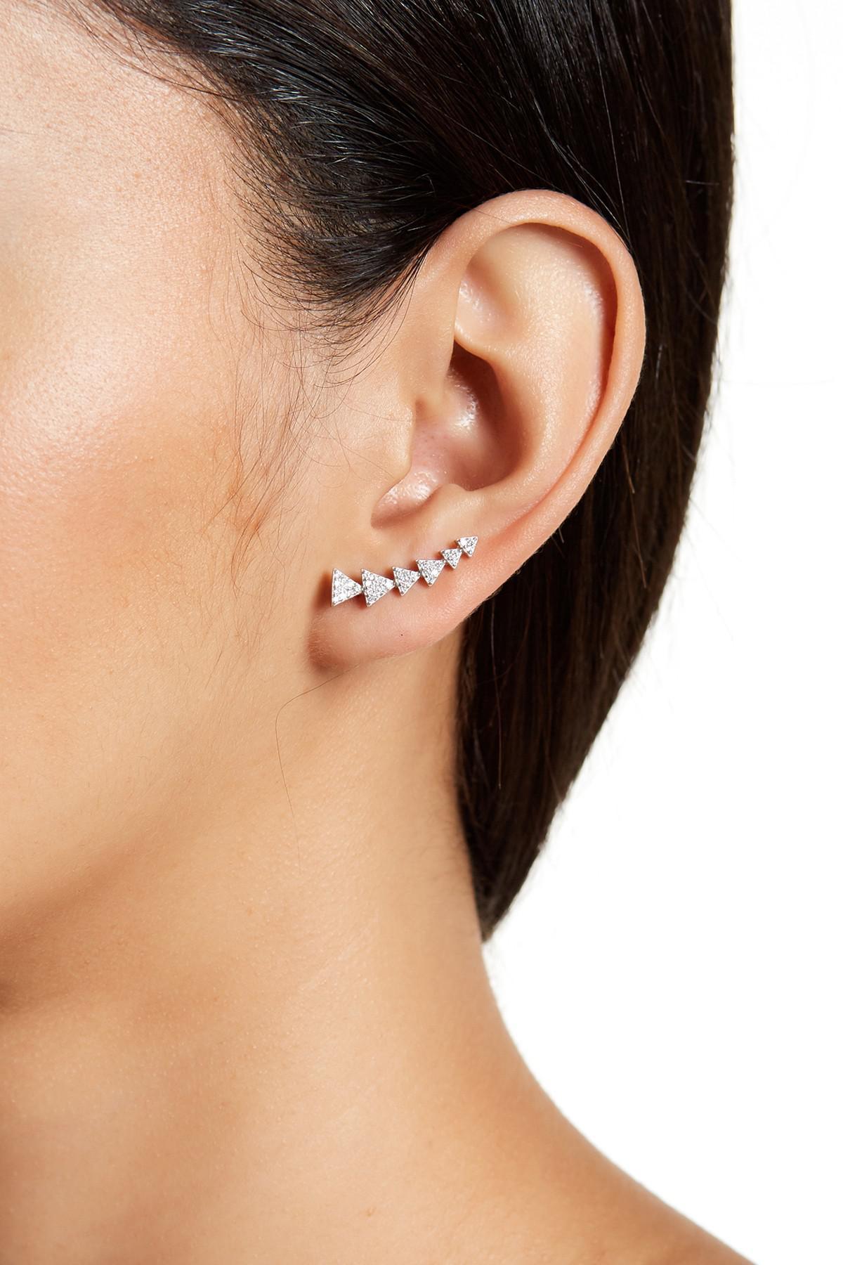 8378391d5 Adornia Sterling Silver Swarovski Crystal Accented Arrow Ear Climber ...