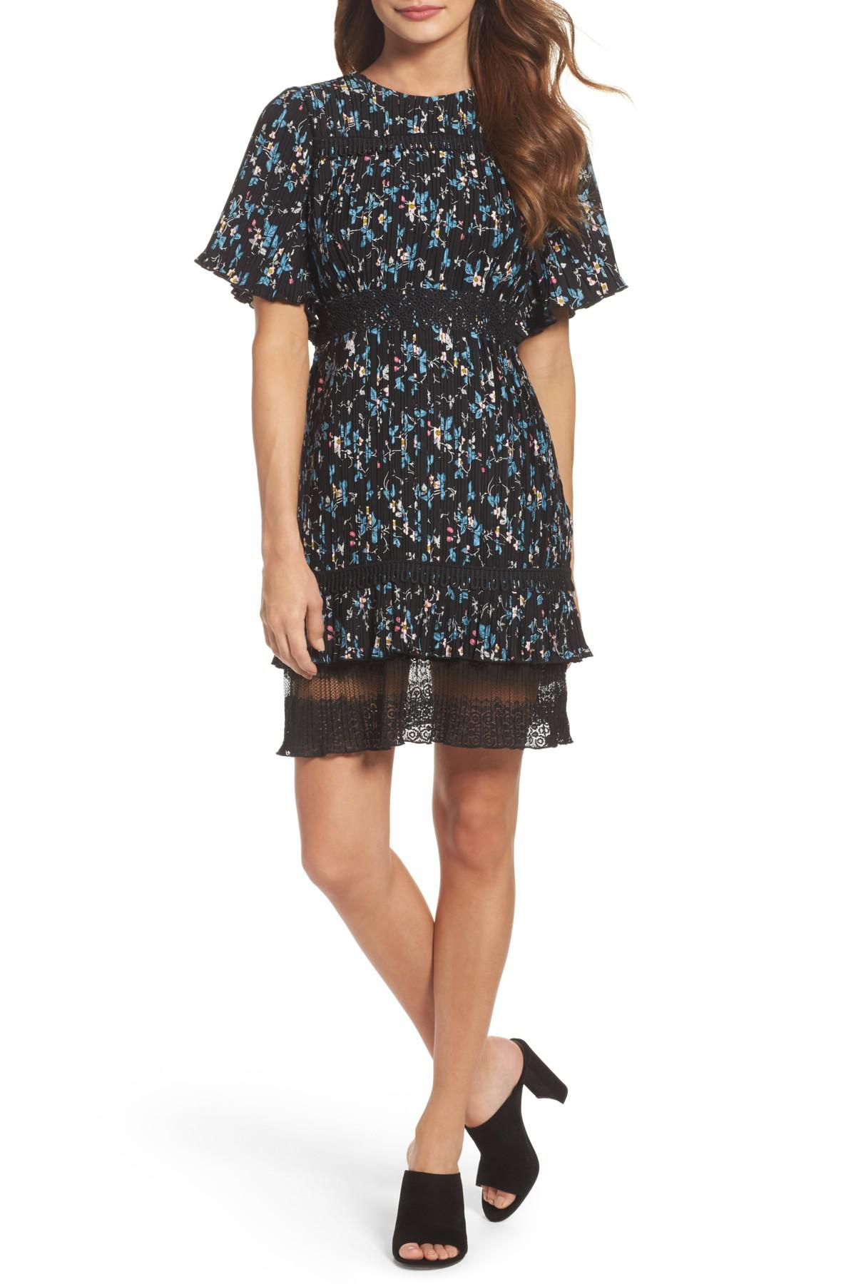 Lyst Chelsea28 Pleated Lace Dress In Black