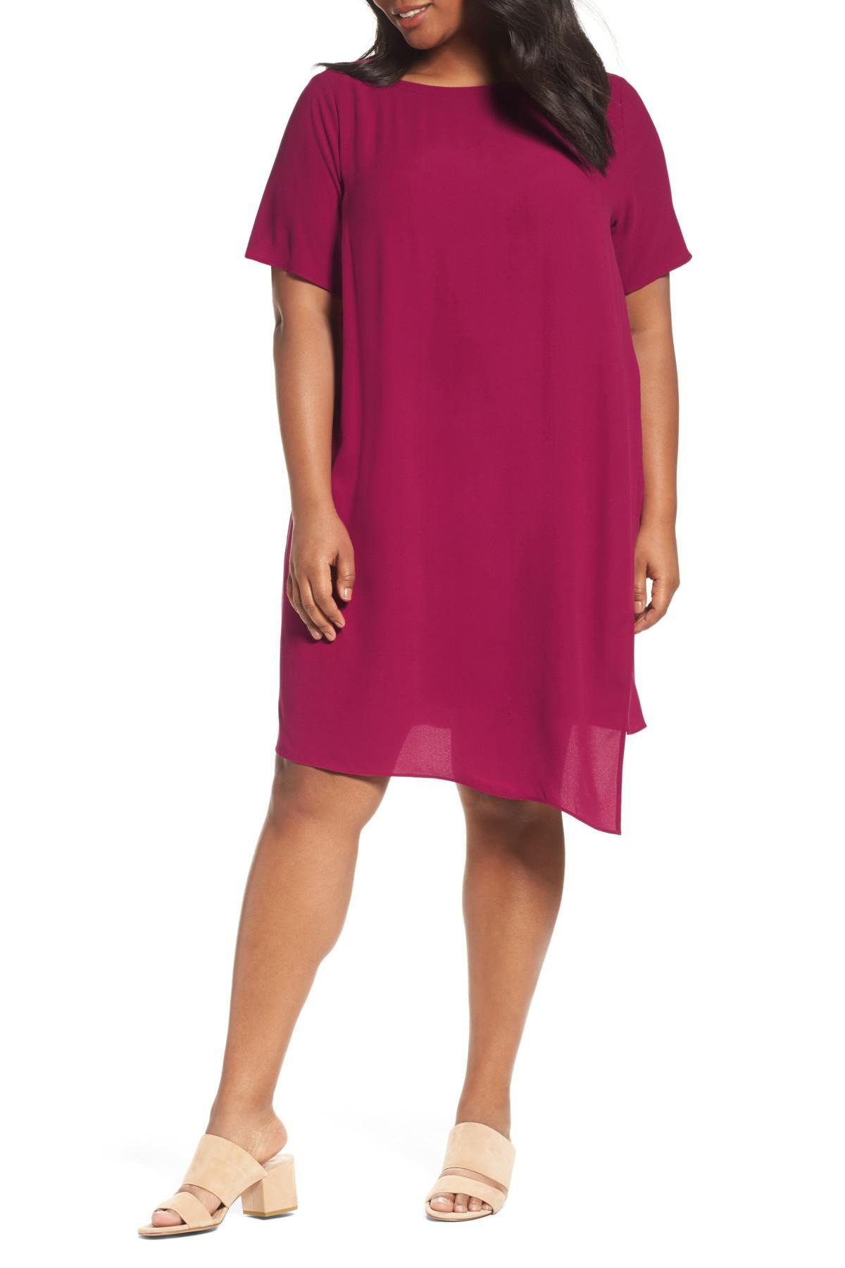 Eileen Fisher Asymmetrical Silk Shift Dress Plus Size In