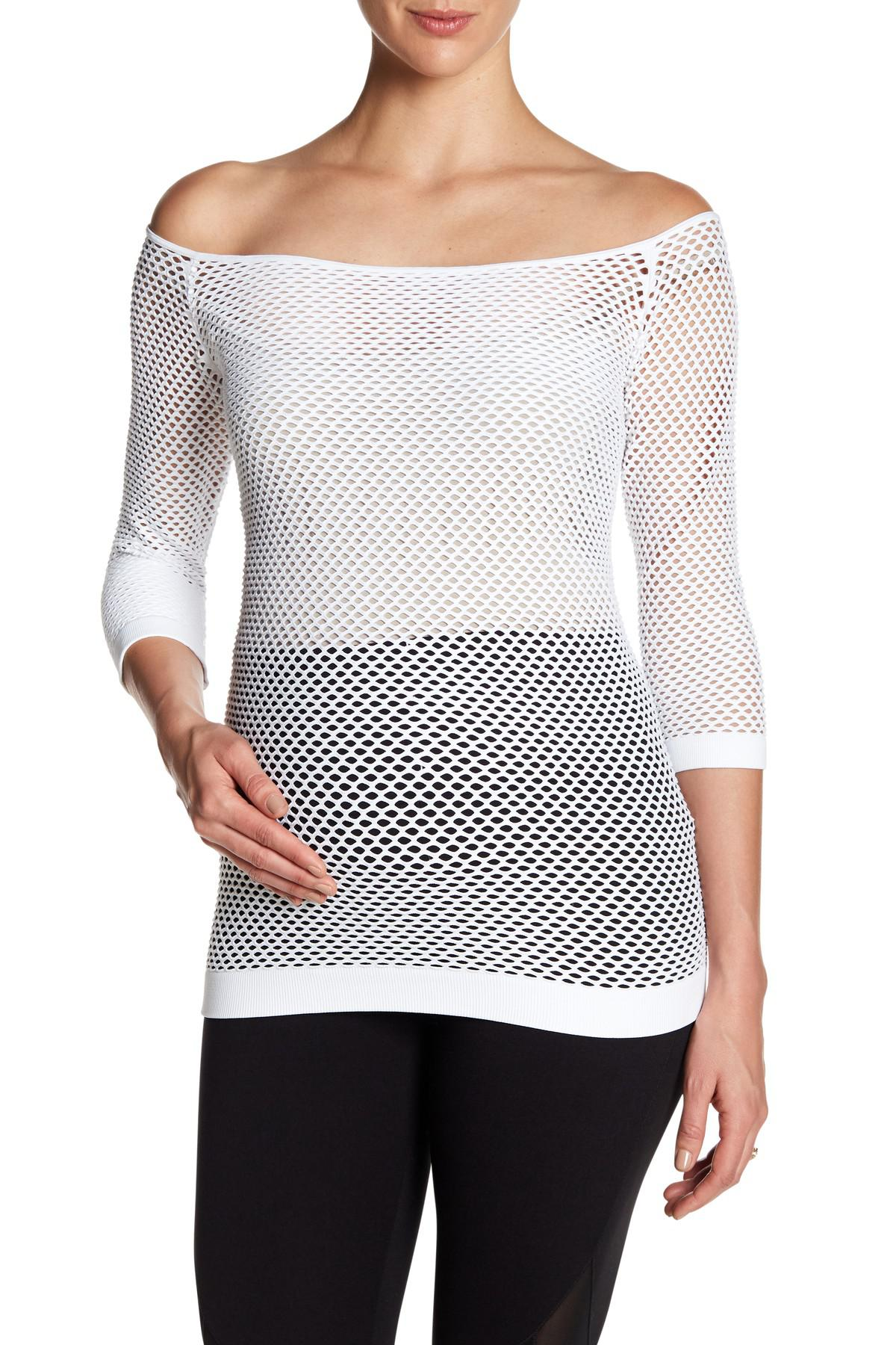 8af2106428 Electric Yoga Peekaboo Belly Off-the-shoulder Fishnet Top (maternity ...