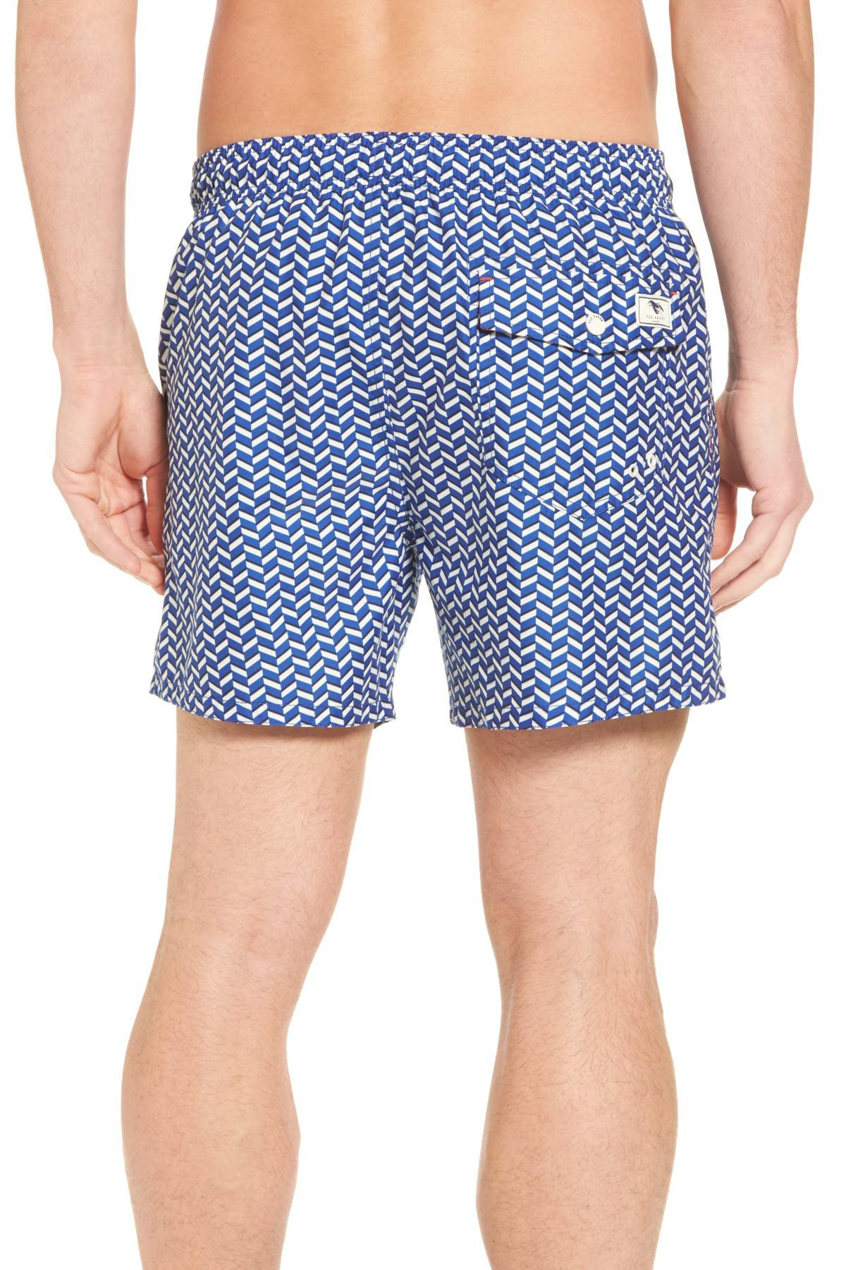 60d5d6c6470932 Ted Baker - Blue Caven Geo Print Swim Trunks for Men - Lyst. View fullscreen