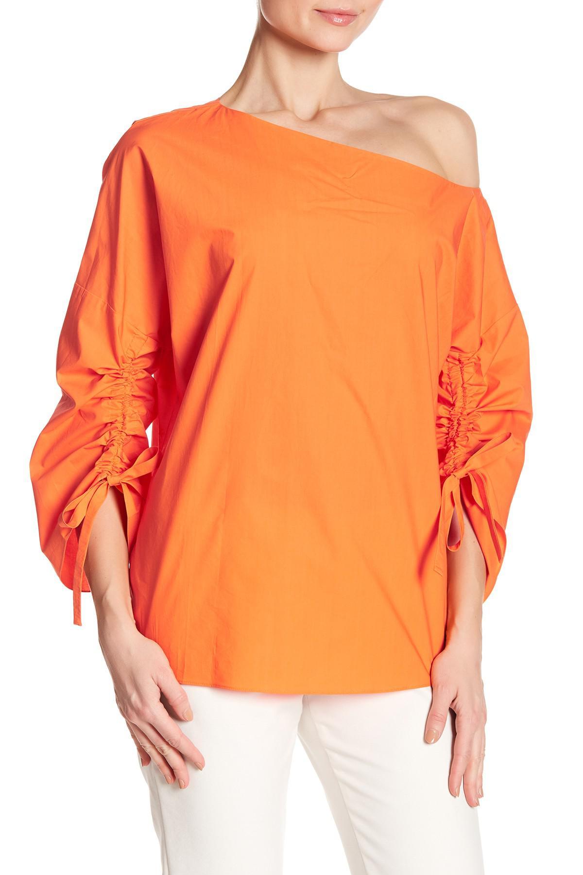 fe922171816 Tibi One Shoulder Ruched Sleeve Blouse in Orange - Lyst