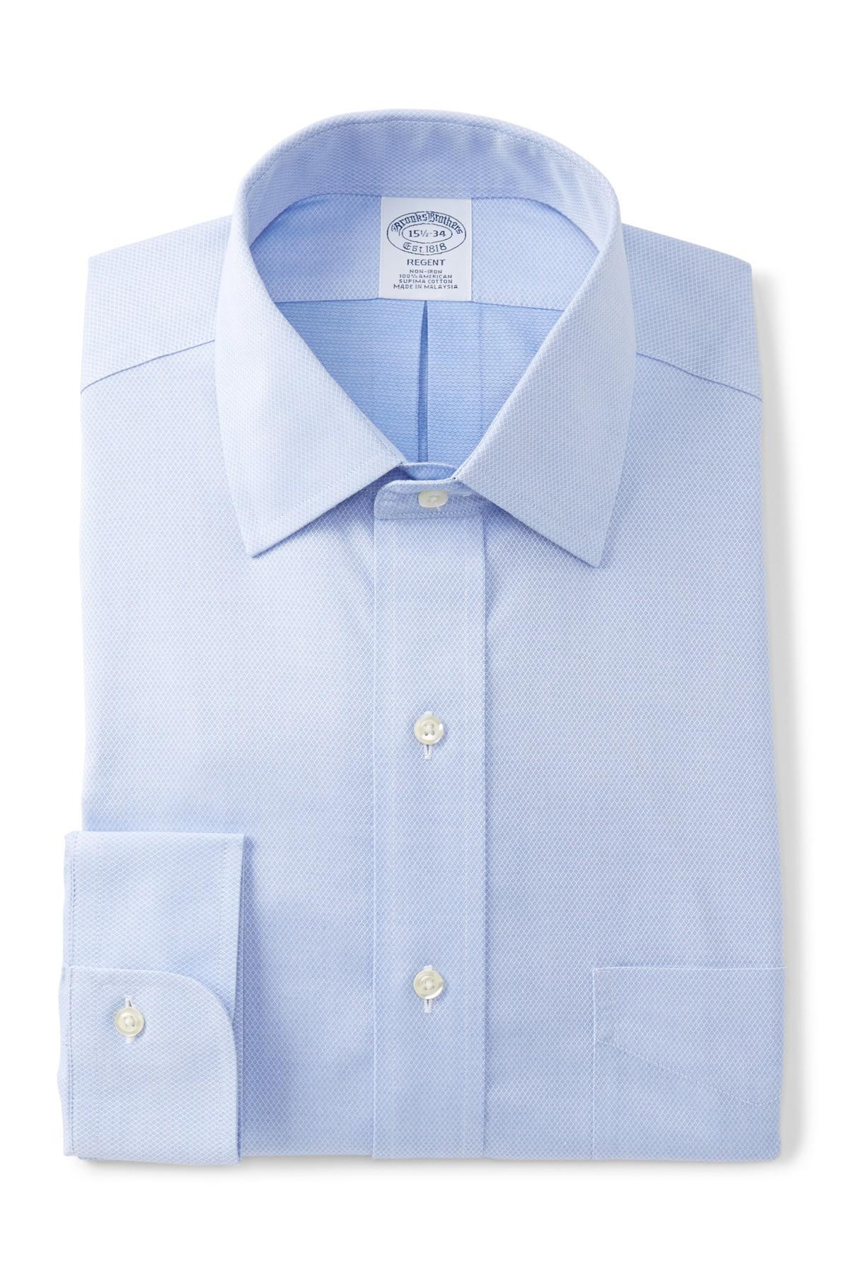 Lyst brooks brothers regent slim fit printed dress shirt for Brooks brothers dress shirt fit