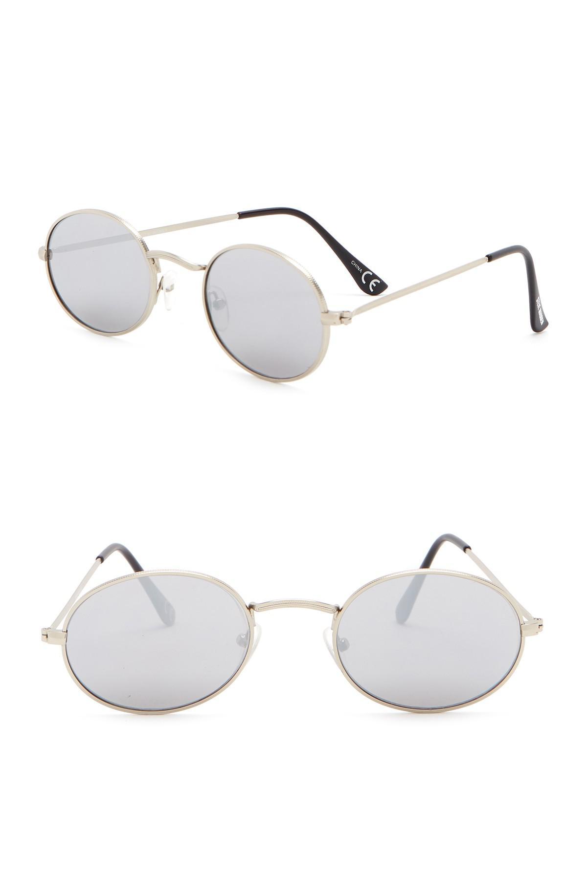 cbefe144953 Lyst - Steve Madden 50mm Flat Lens Round Sunglasses in Metallic
