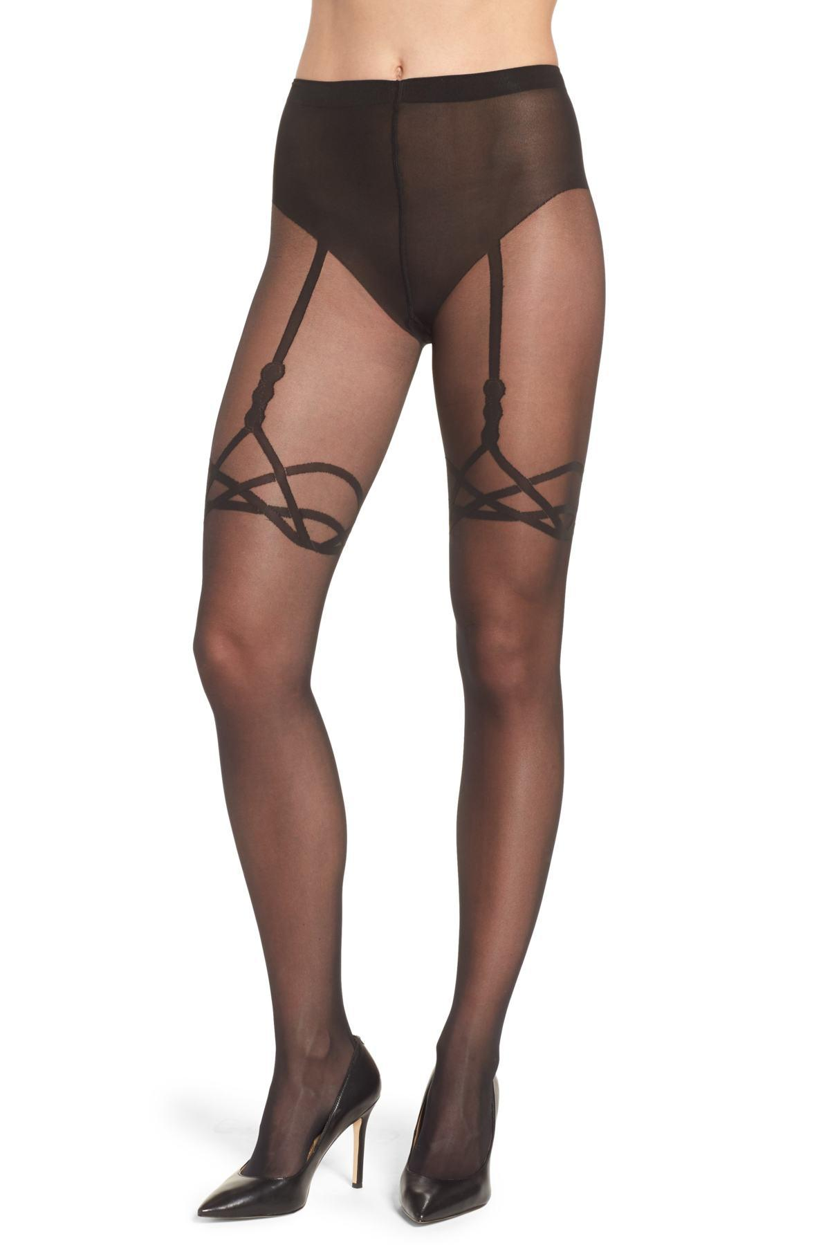 92304b616c3 Wolford Katy Suspender Tights in Black - Lyst